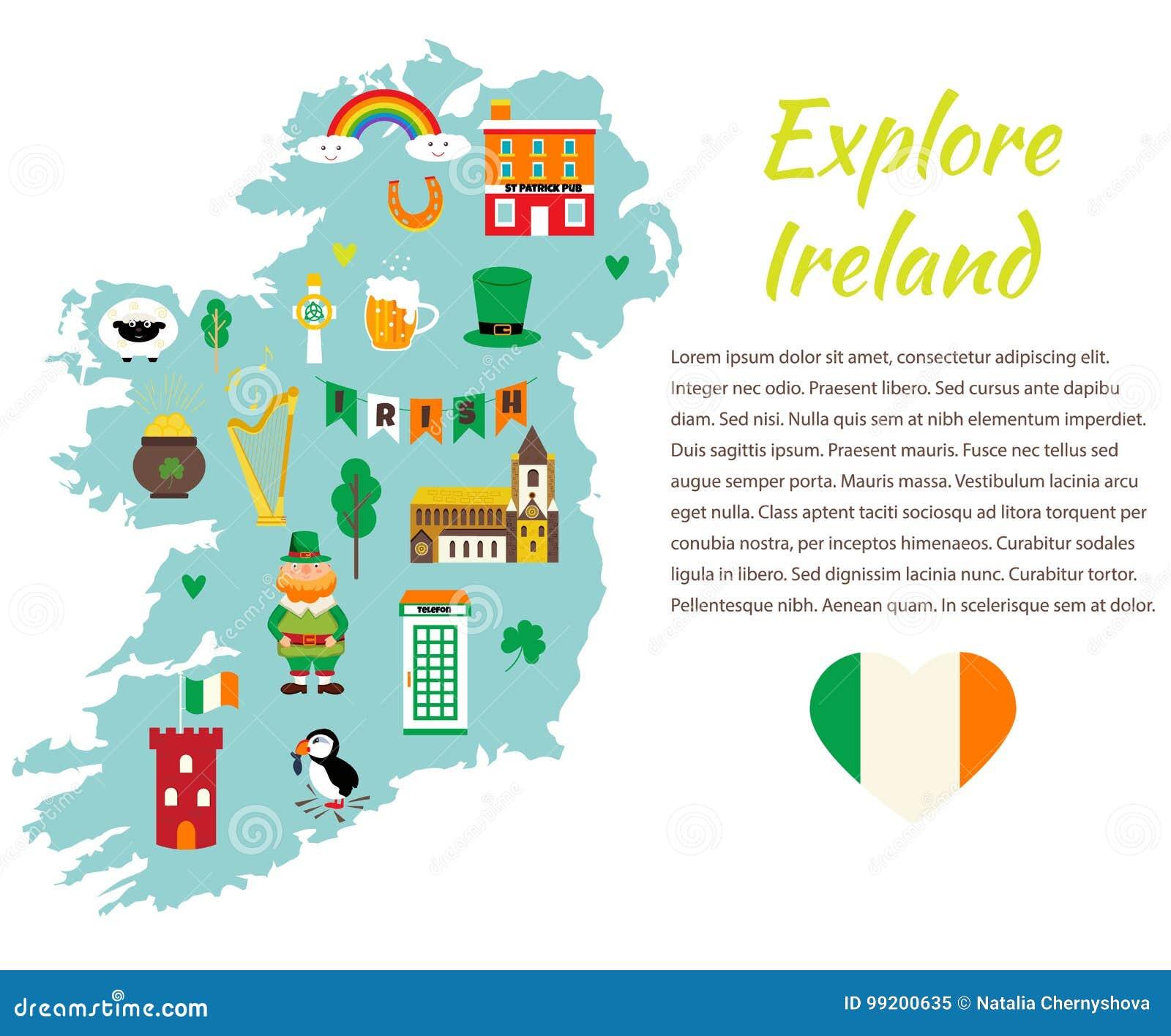 Cartina Turistica Irlanda.Modello Del Fondo Con La Mappa Turistica Dell Irlanda Con I Punti Di Riferimento I Simboli Ed Il Testo Illustrazione Vettoriale Illustrazione Di Architettura Programma 99200635