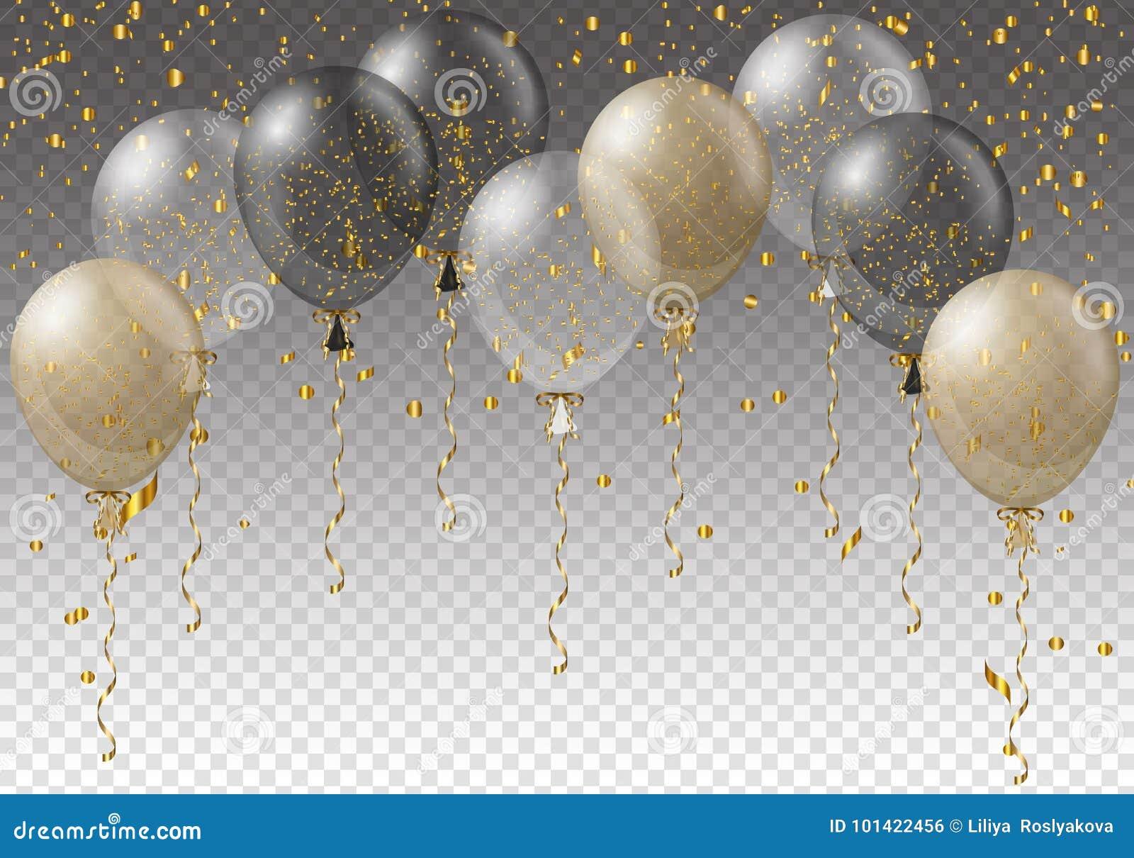 Modello del fondo di celebrazione con i palloni, i coriandoli ed i nastri su fondo trasparente Illustrazione di vettore