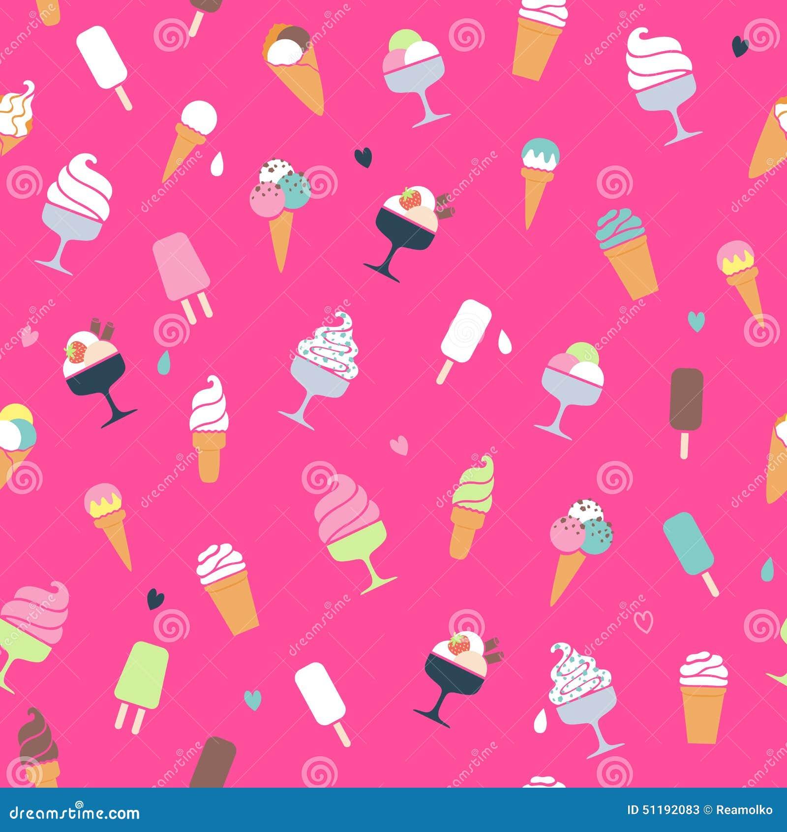 Melting Ice Cream Simple Wallpaper Designs: Fondo Rosa Illustrazione Vettoriale