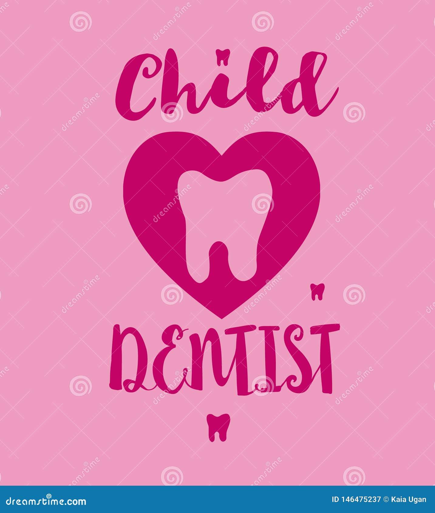 Modello del logo del dentista del bambino con il dente del fumetto La mano rosa di colori ha schizzato l iscrizione della tipogra
