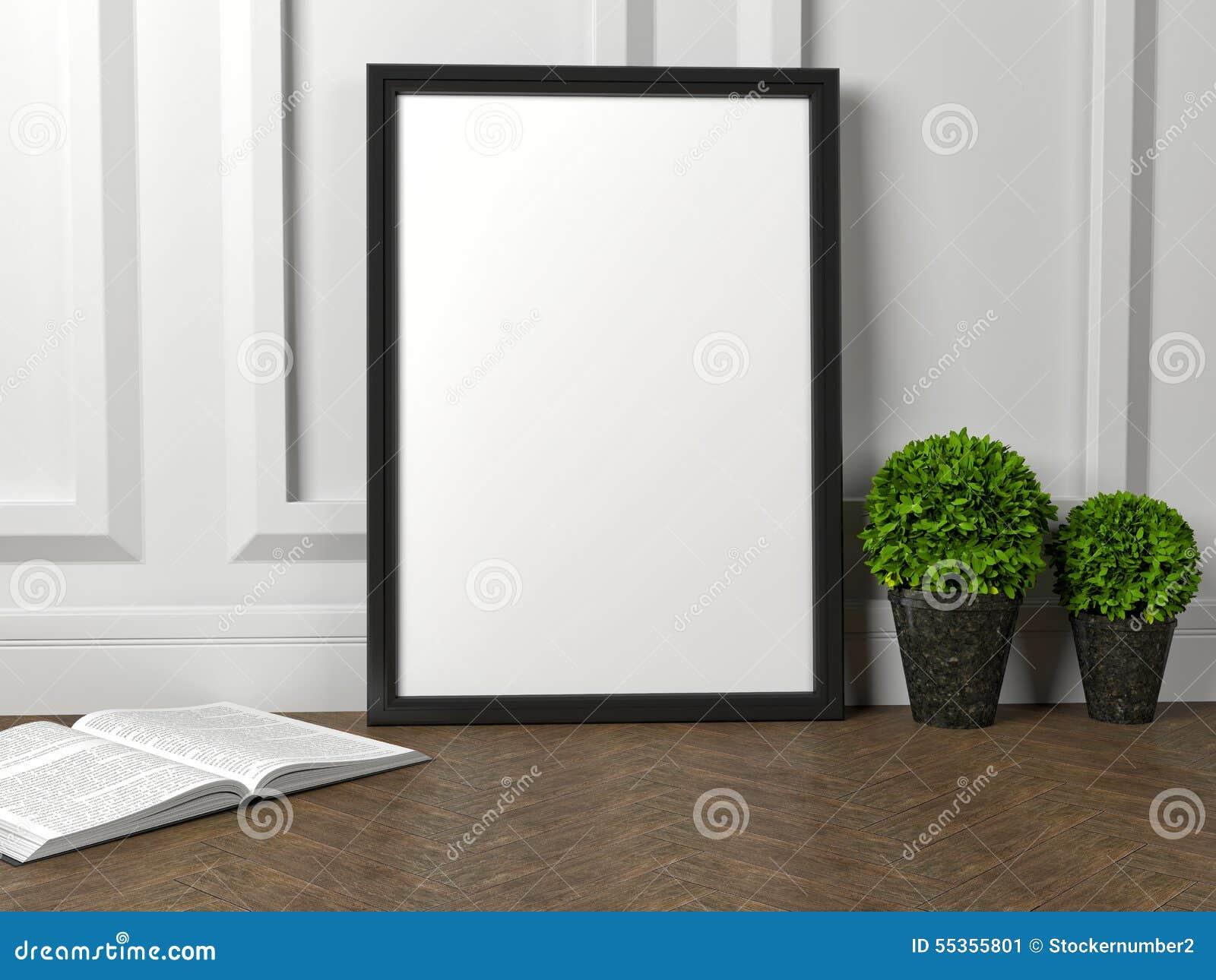 Modello del manifesto in bianco della struttura e del fiore verde sul pavimento