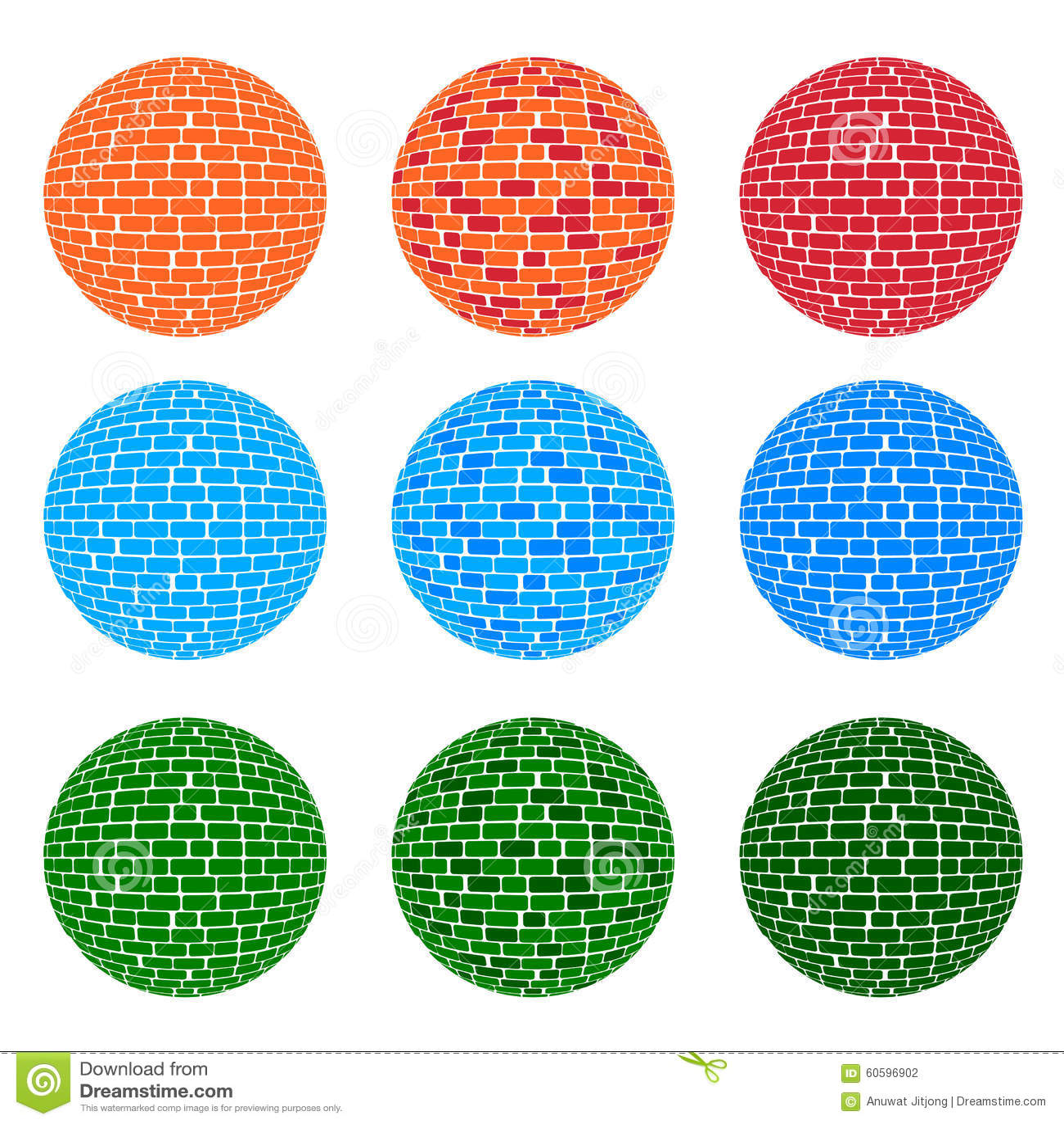 Modello del mattone della sfera di tono di 3 colori - Cavaliere modello a colori ...