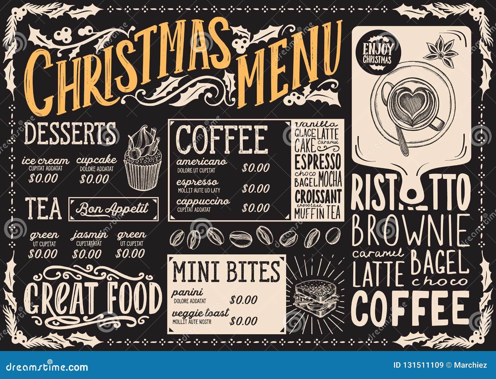 Modello del menu di Natale per la caffetteria su un opuscolo dell illustrazione di vettore della lavagna per la celebrazione di g