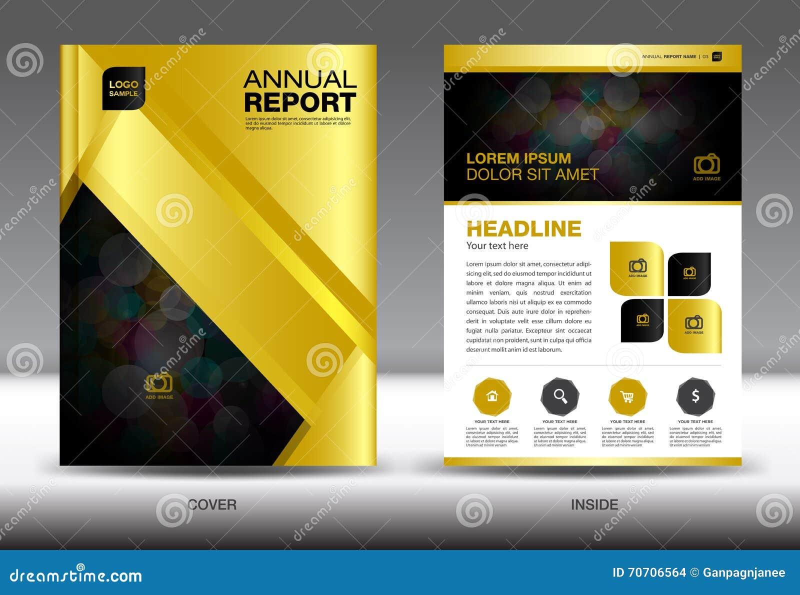 Modello del rapporto annuale dell oro, progettazione della copertura dell oro, YER di Florida dell opuscolo, dentro