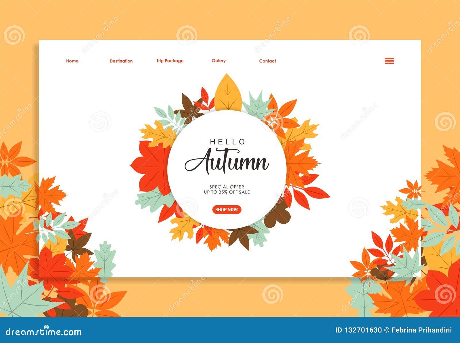 Modello del sito Web con progettazione di colore di autunno