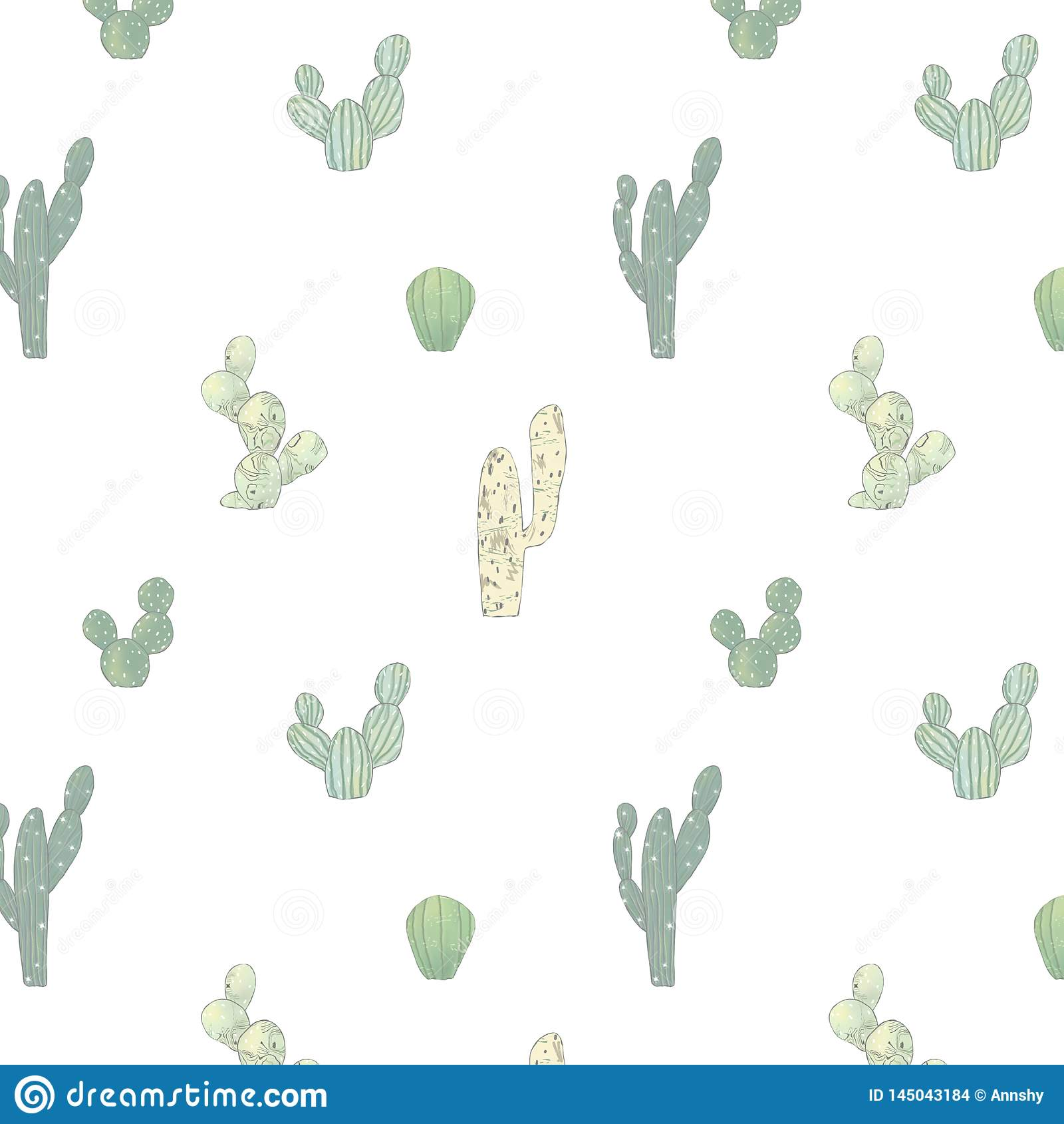 Modello dell acquerello con il cactus differente Struttura ripetuta luminosa con i cactus verdi Fondo di disegno della mano natur