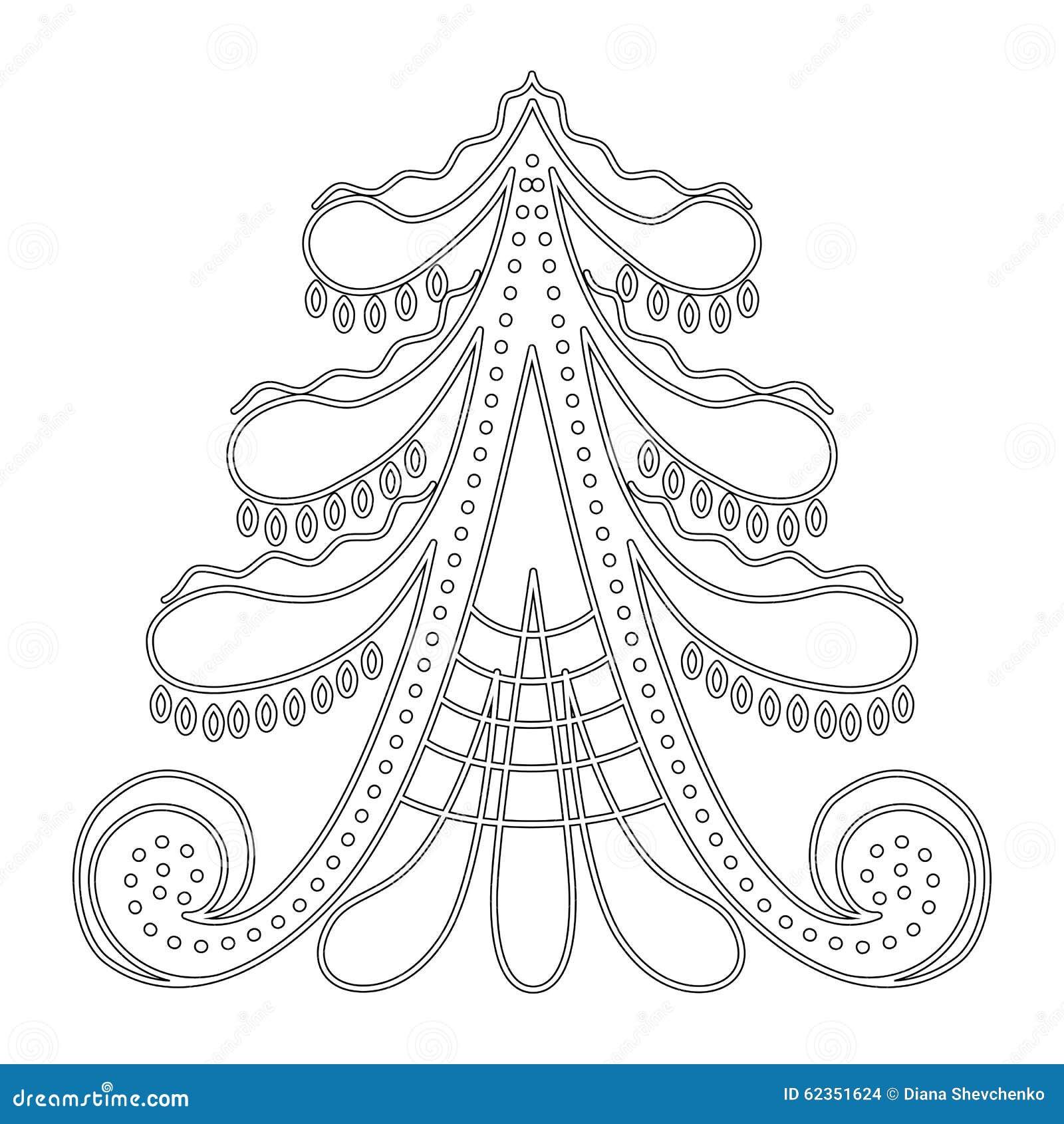 Modello Dellalbero Di Natale Per Il Libro Da Colorare Illustrazione
