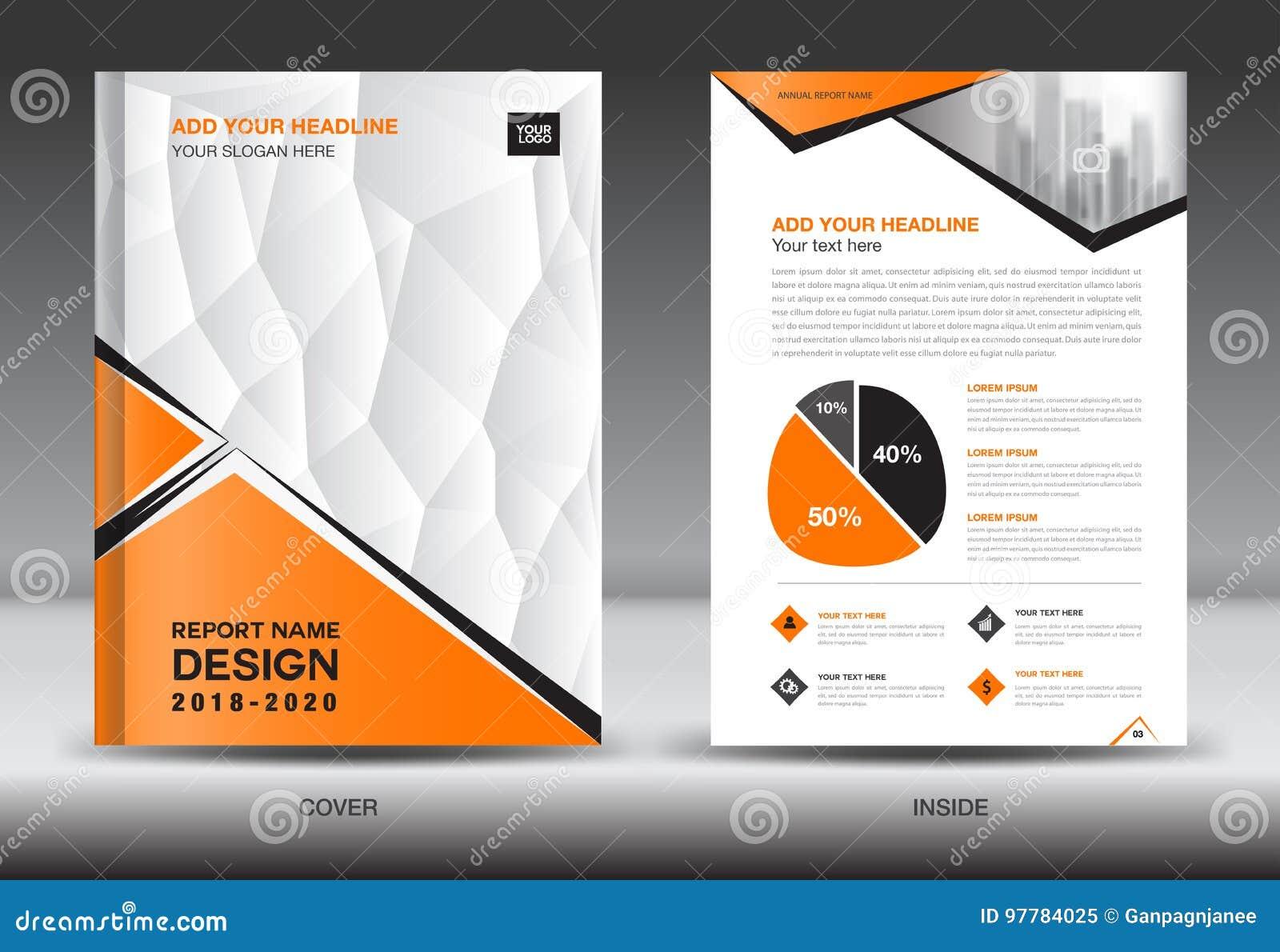 Modello dell aletta di filatoio dell opuscolo di affari A4 nella dimensione, progettazione arancio della copertura