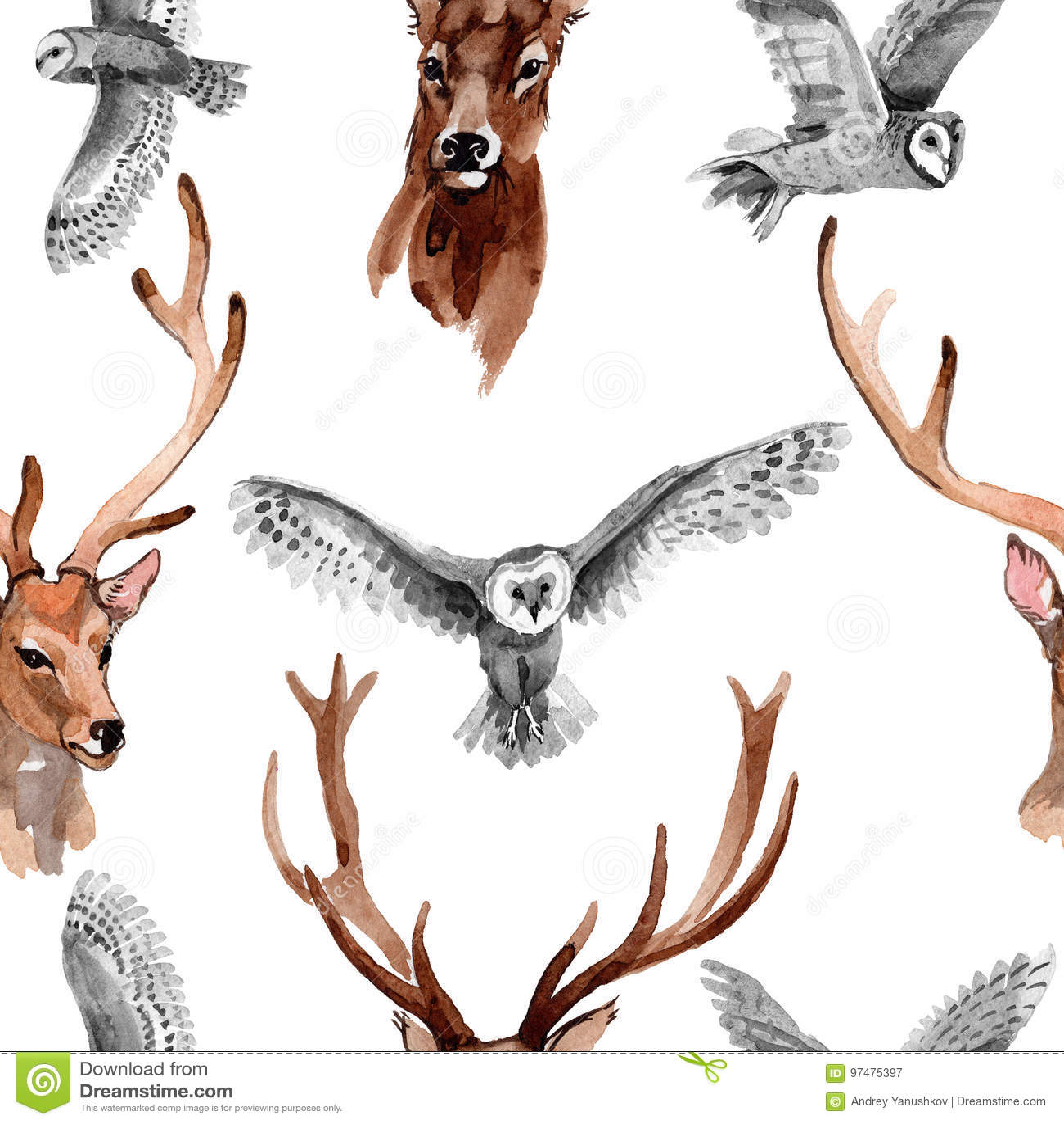 Modello dell animale selvatico della renna in uno stile dell acquerello