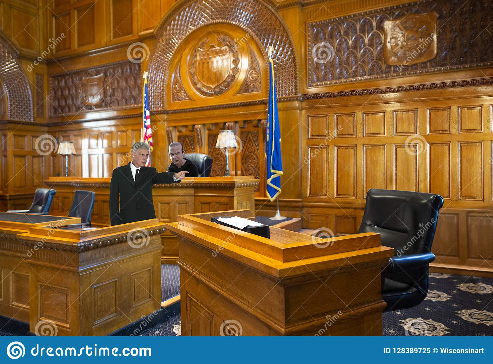 Modello dell aula di tribunale, supporto di testimone, legge, avvocato, giudice