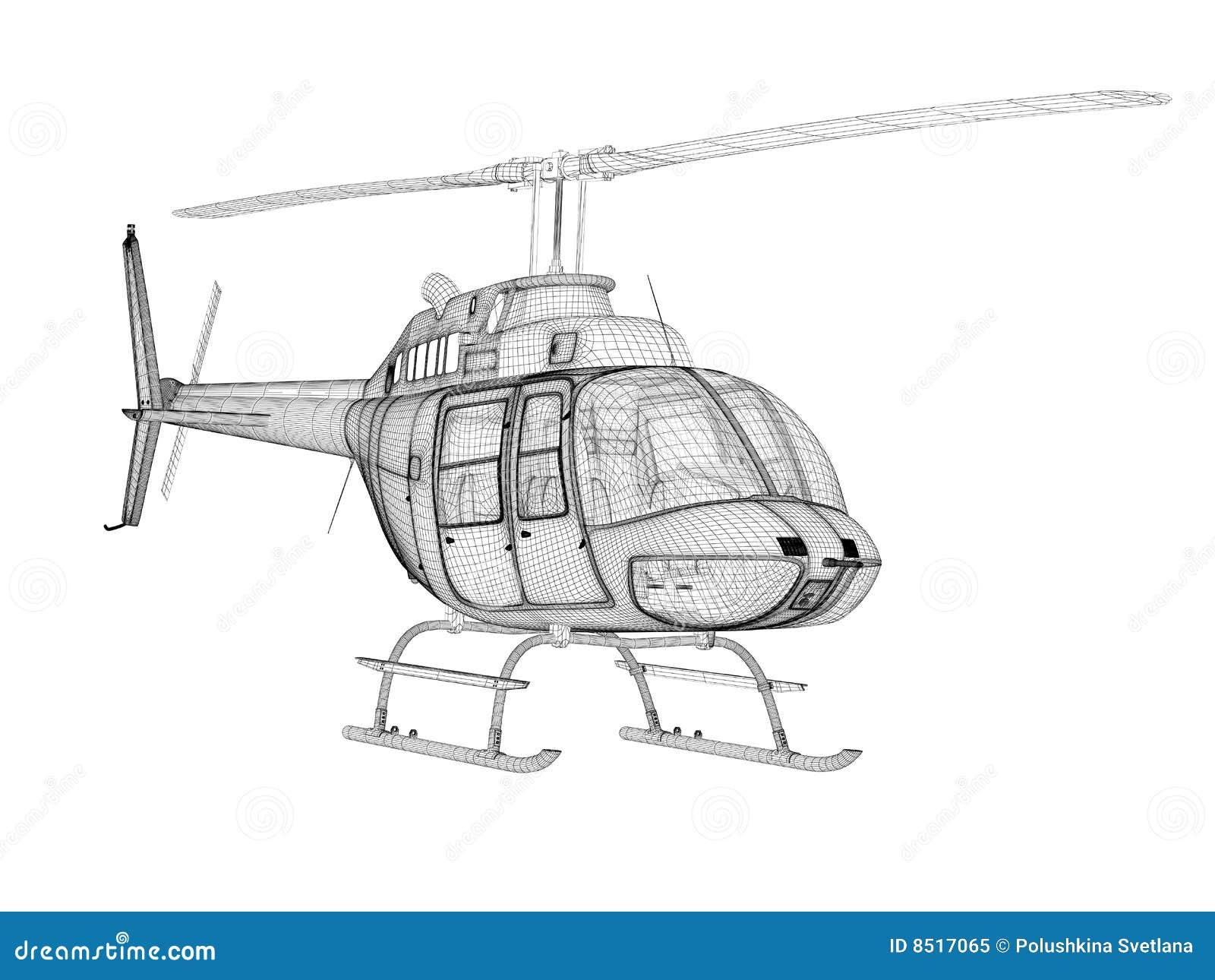 Elicottero 3d Model : Modello dell elicottero d vista frontale illustrazione di stock