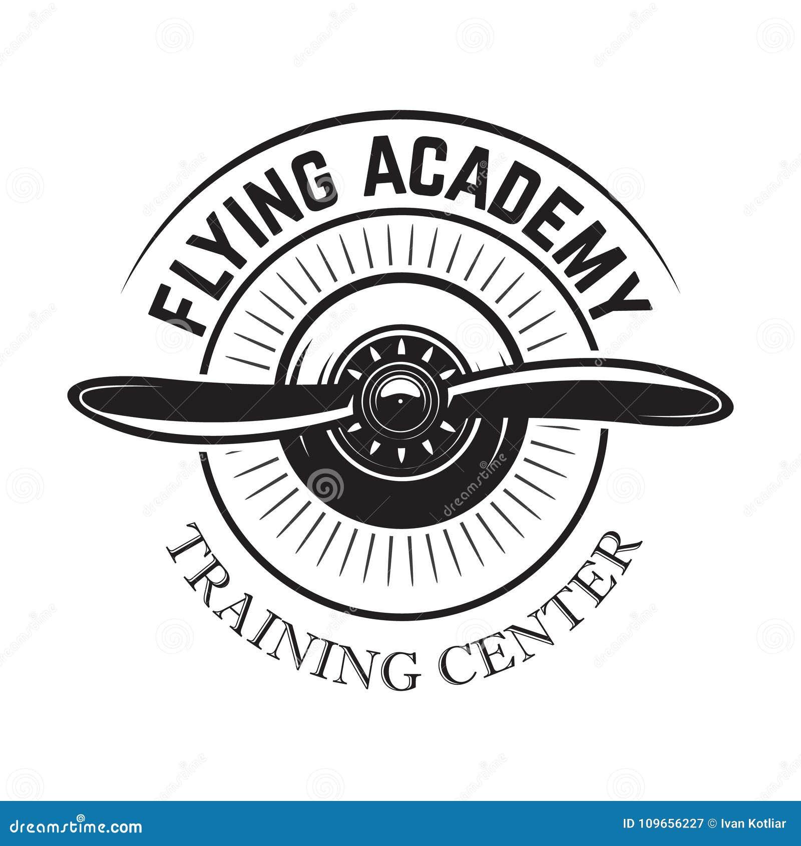 Modello dell emblema del centro di formazione di aviazione con il retro aeroplano Progetti l elemento per il logo, l etichetta, l