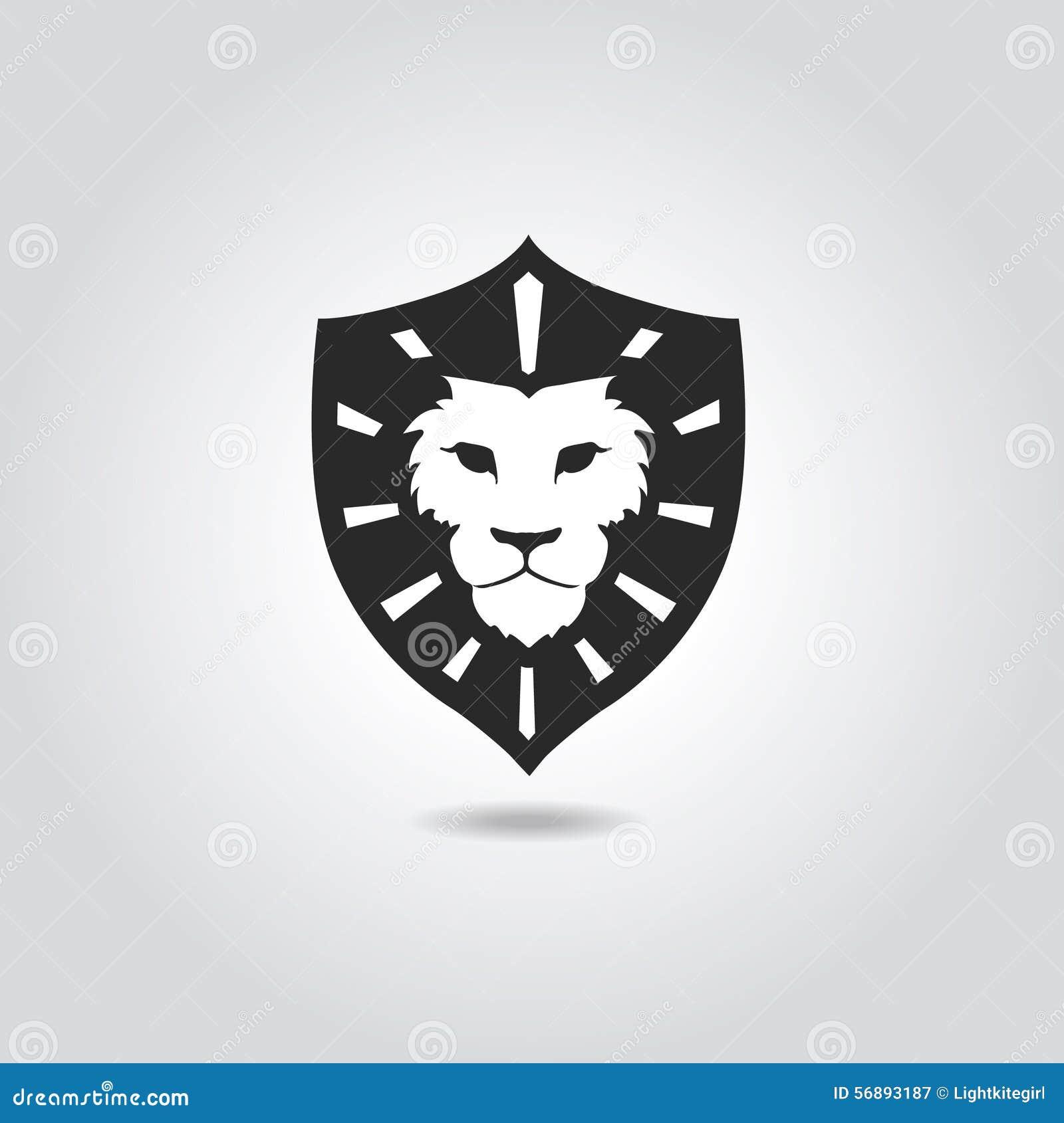 Modello dell emblema di logo del fronte del leone per l affare o la t