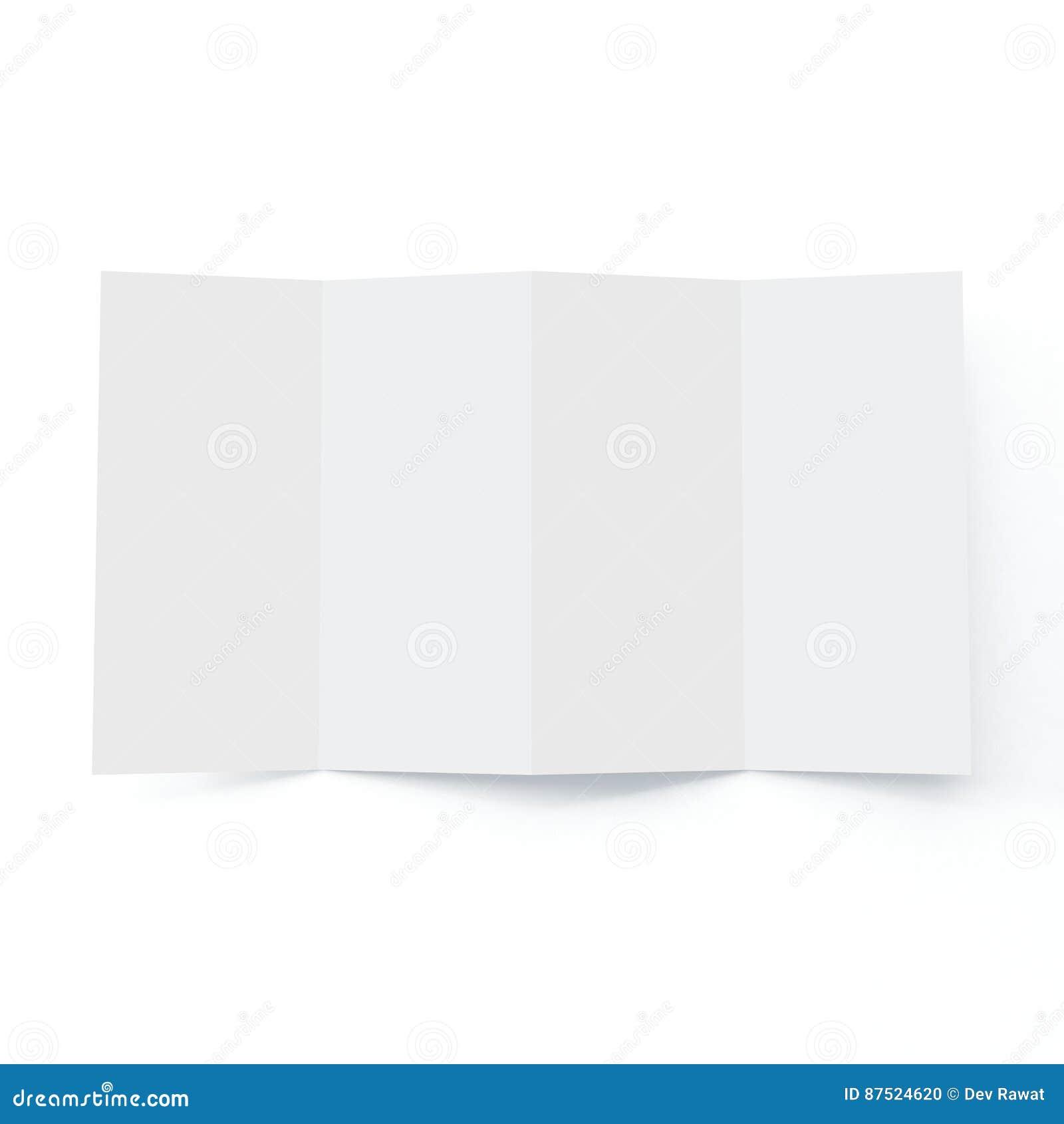 Modello dell opuscolo di quattro volte su fondo bianco isolato