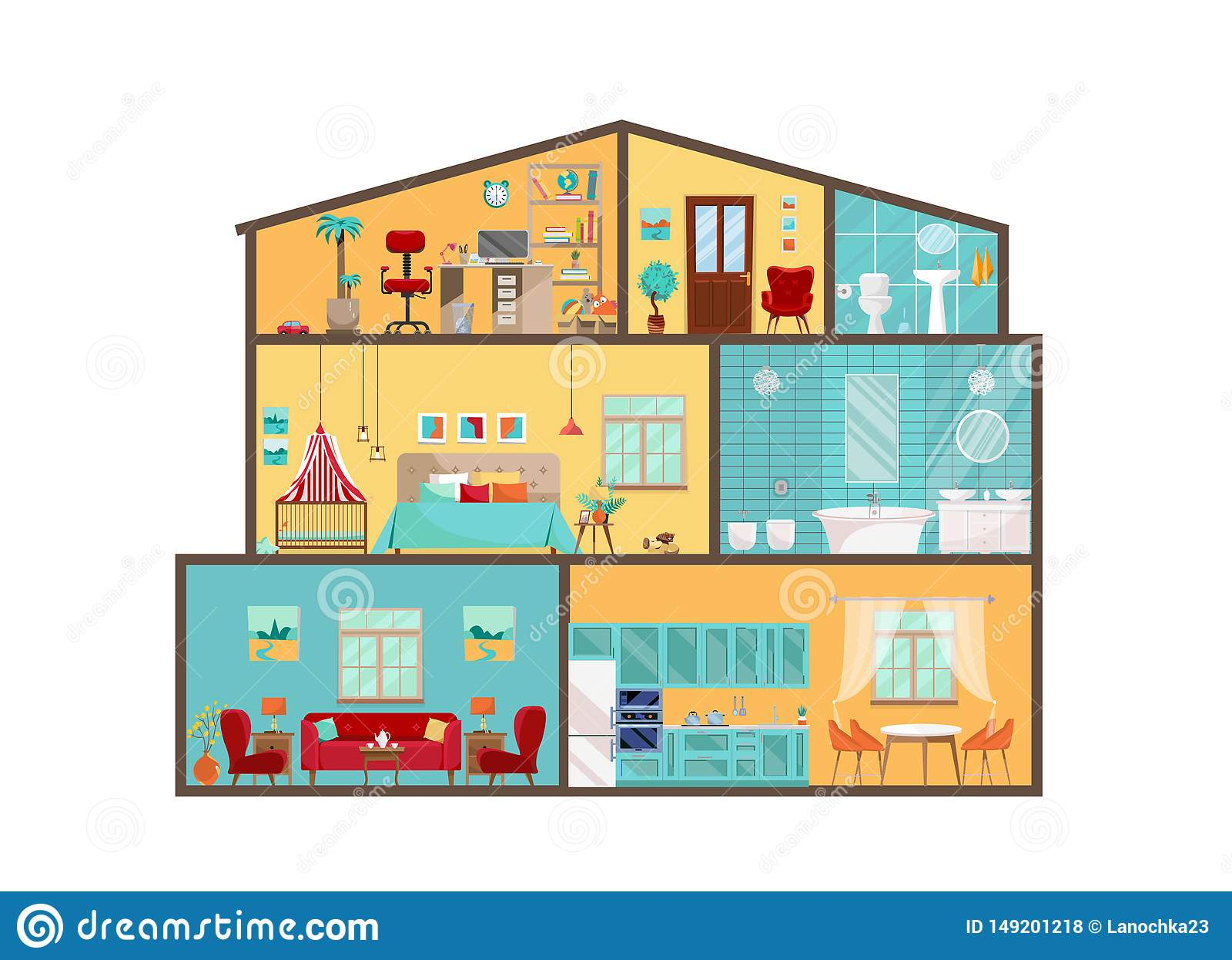 Modello della Camera dall interno Interni dettagliati con mobilia e la decorazione nello stile piano di vettore Grande Camera nel