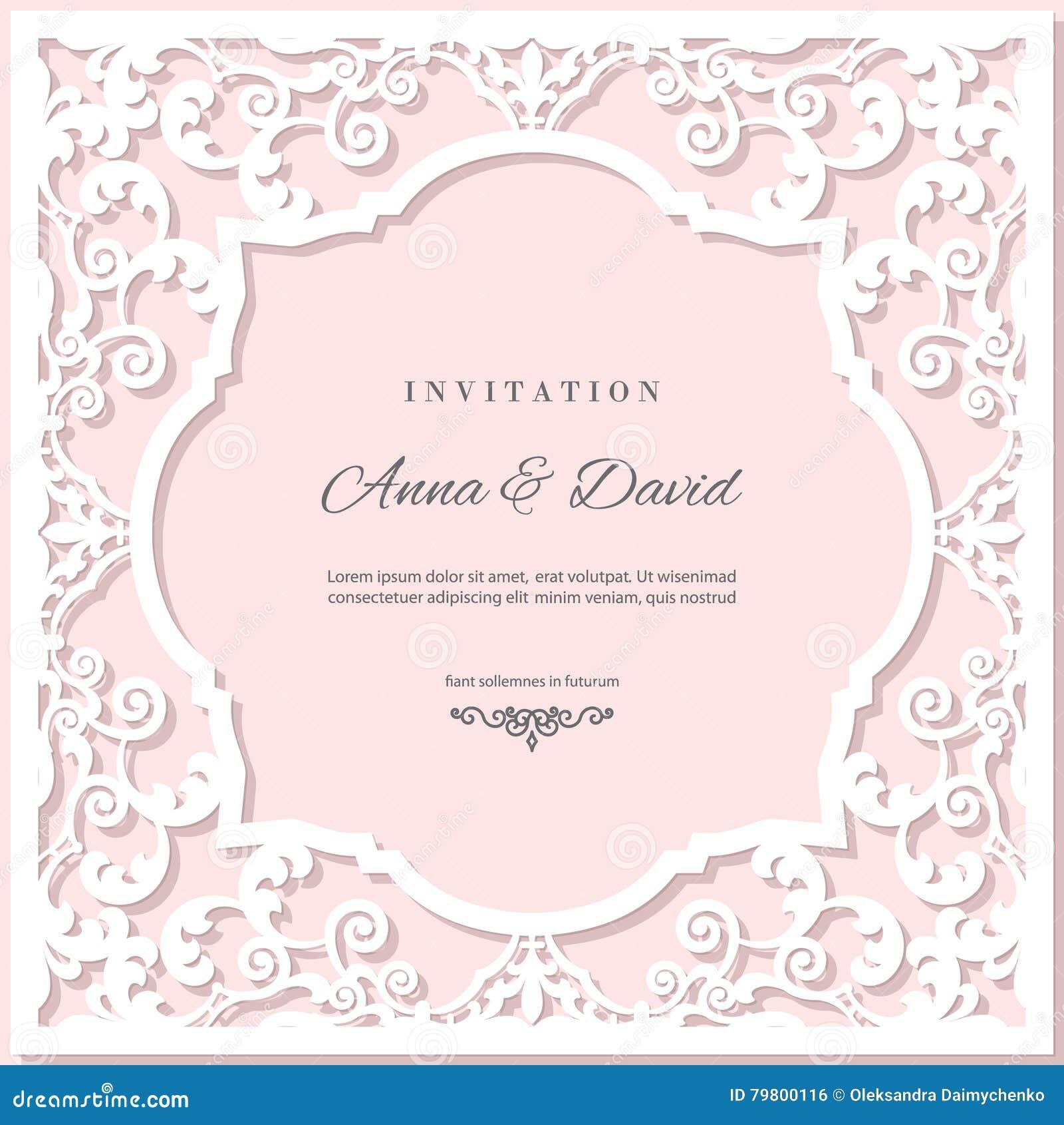 Modello della carta dell invito di nozze con la struttura di taglio del laser Colori di bianco e di rosa pastello