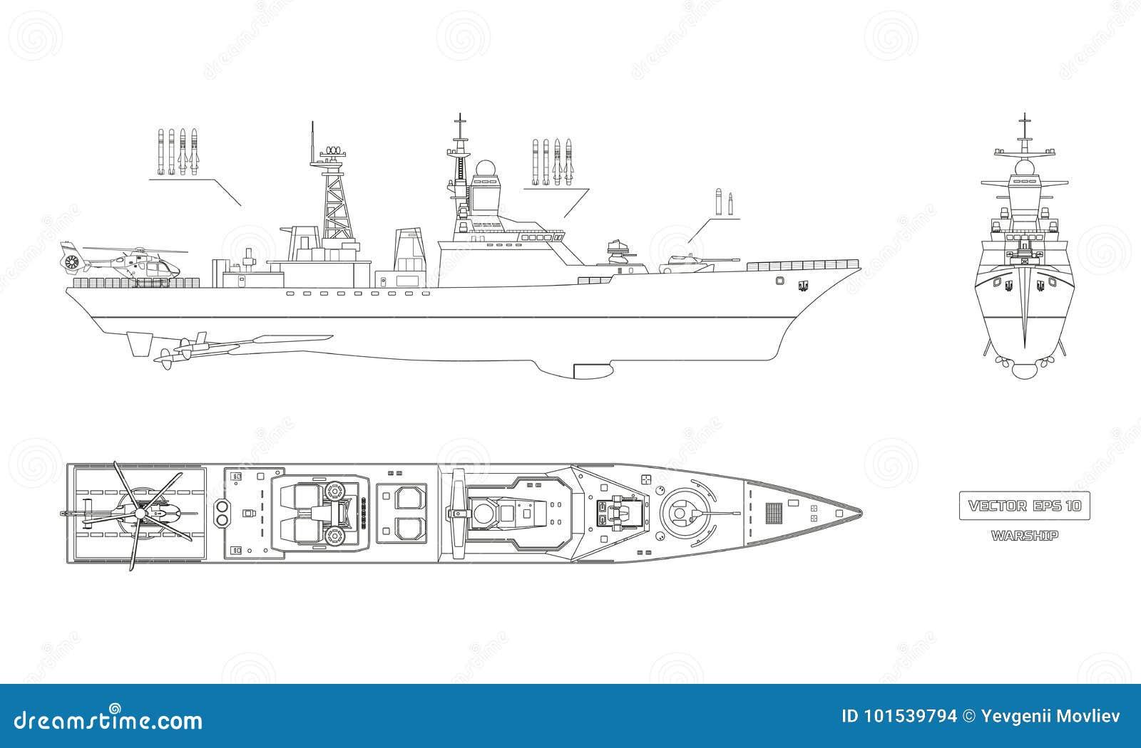 Modello Della Nave Dei Militari Cima Parte Anteriore E Lato Illustrazione Vettoriale Illustrazione Di Profilo Nautical 101539794