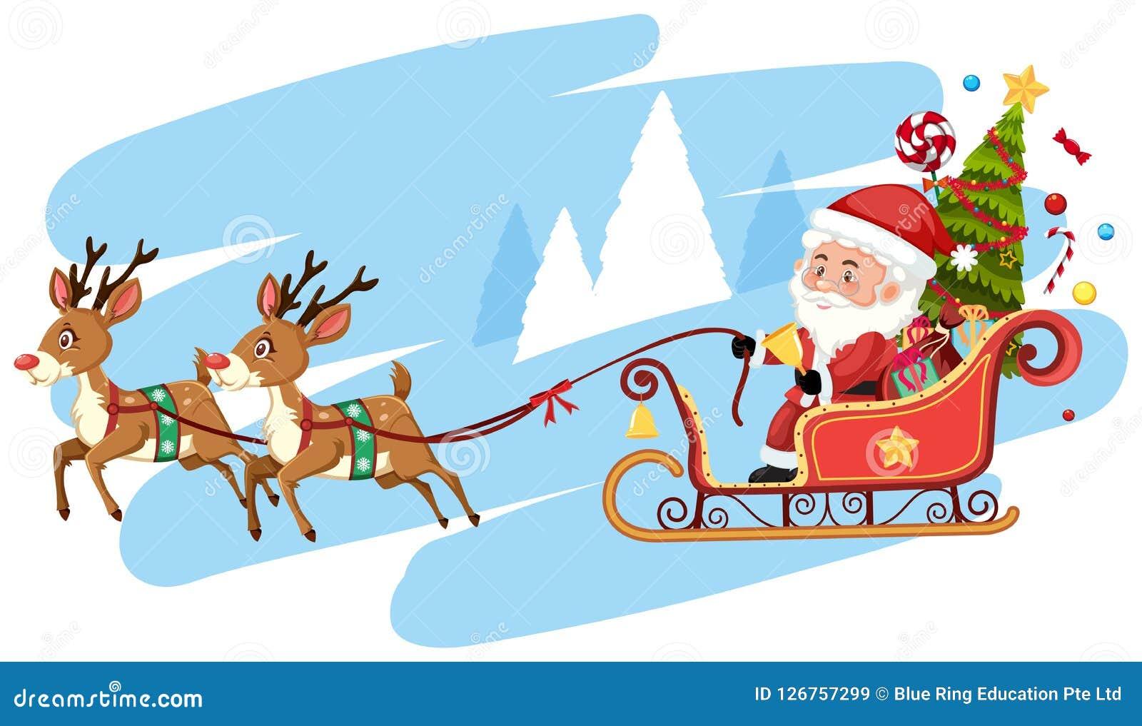 Foto Della Slitta Di Babbo Natale.Modello Della Slitta Di Guida Del Babbo Natale Illustrazione Vettoriale Illustrazione Di Cervi Mascherina 126757299