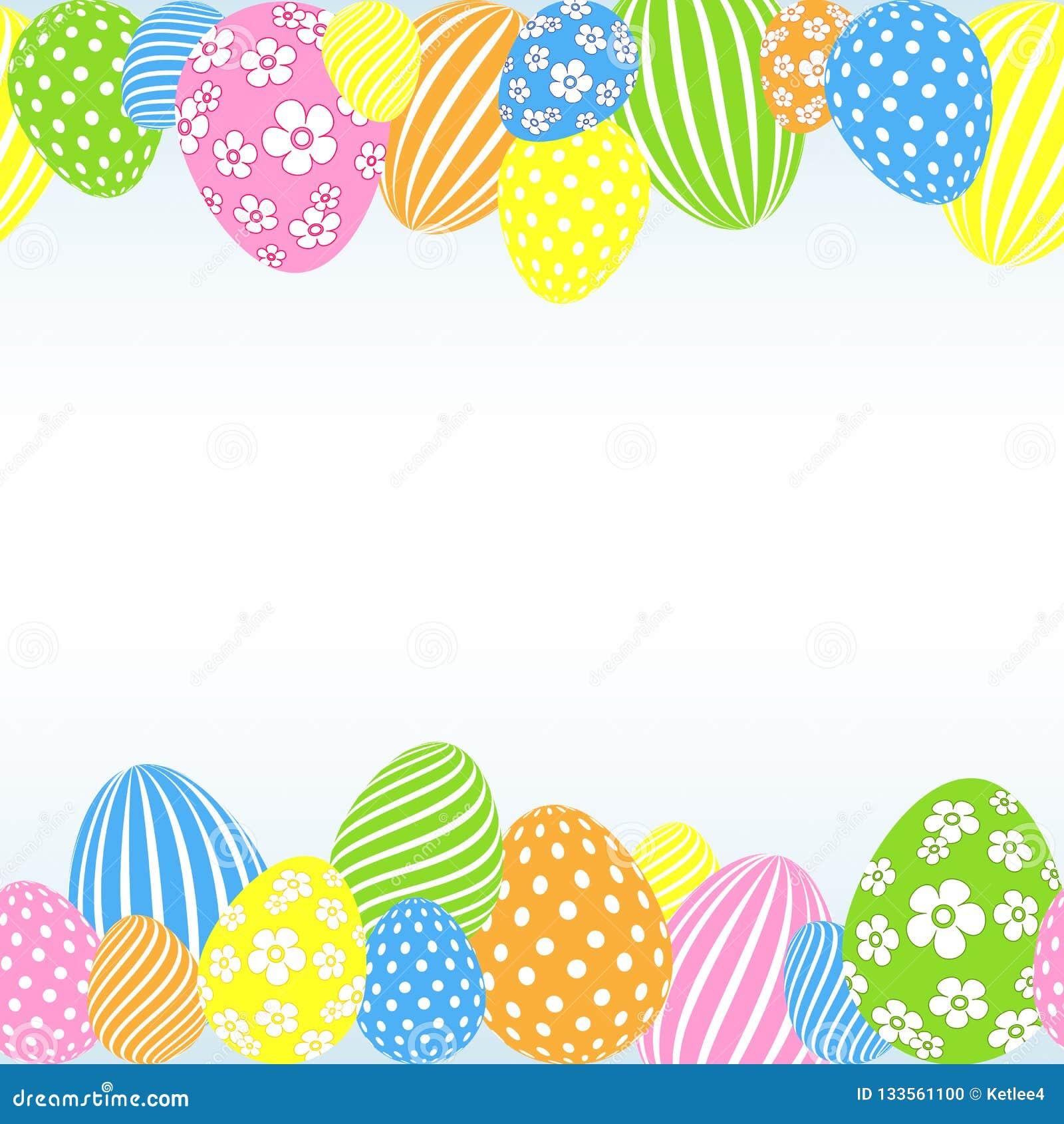 Modello delle uova di Pasqua colorate su un modello vuoto festivo decorativo del fondo leggero per progettazione del manifesto de