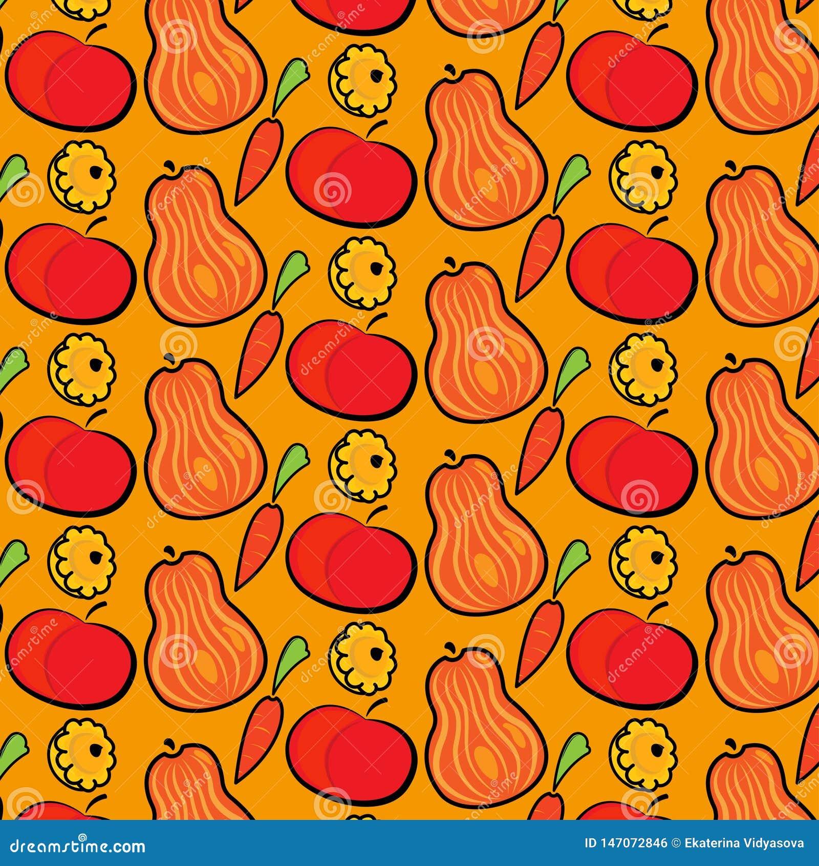 Modello di autunno con le zucche, le mele e le carote Illustrazione disegnata a mano di vettore