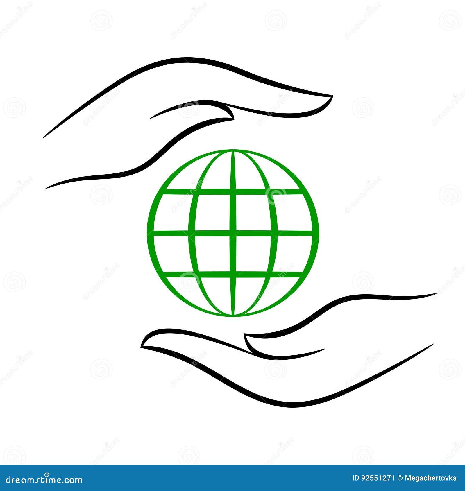 Modello di eco di contorno con il pianeta in mani,