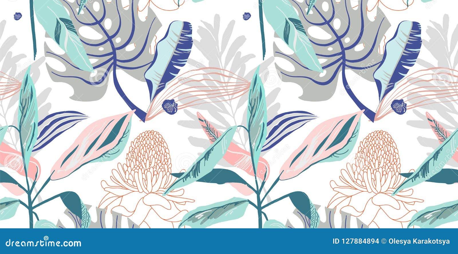 Modello di fiore artistico senza cuciture d avanguardia originale, bello trop