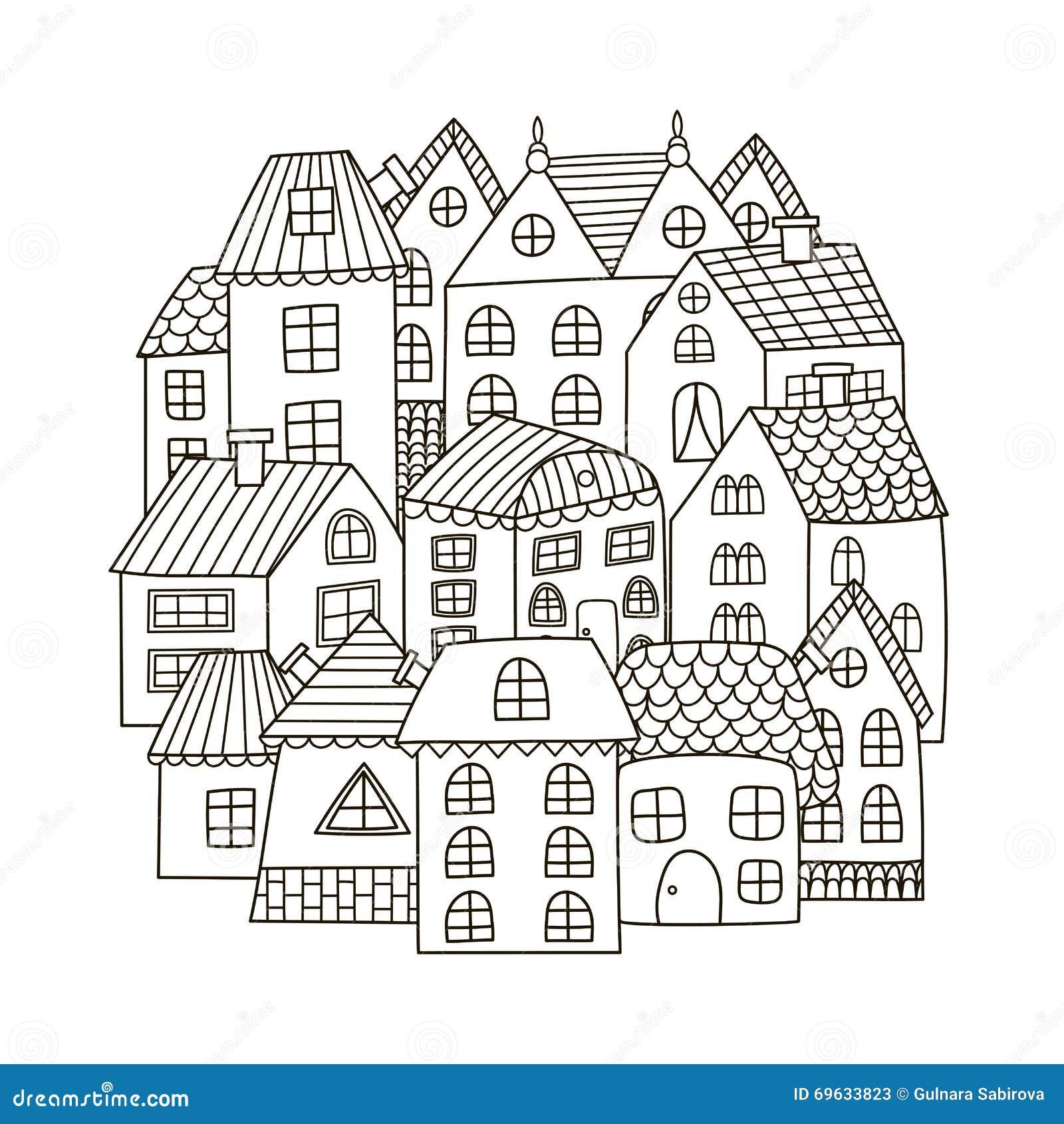 Modello di forma del cerchio con le case per il libro da - Immagini di colorare le pagine del libro da colorare ...