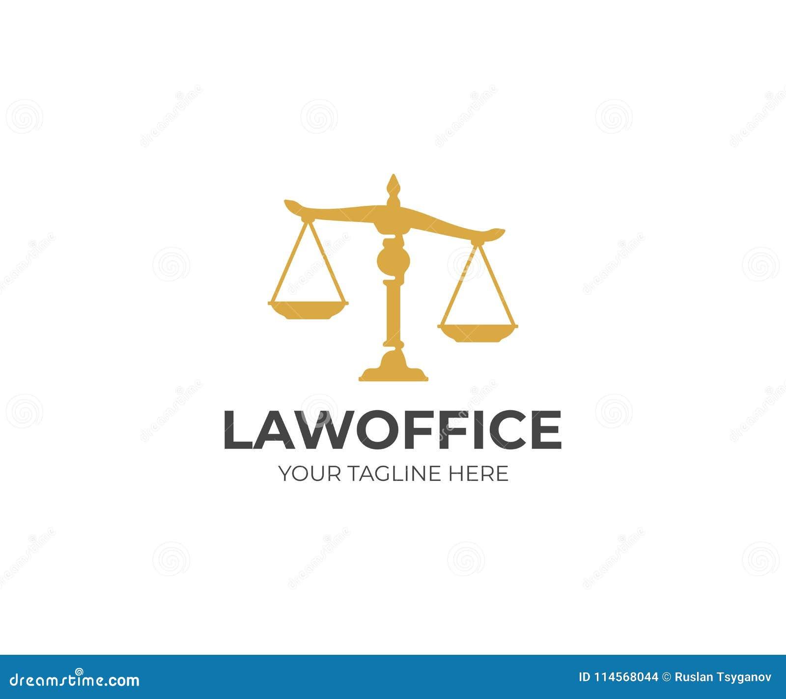 Modello Di Logo Della Bilancia Della Giustizia La Legge Riporta In