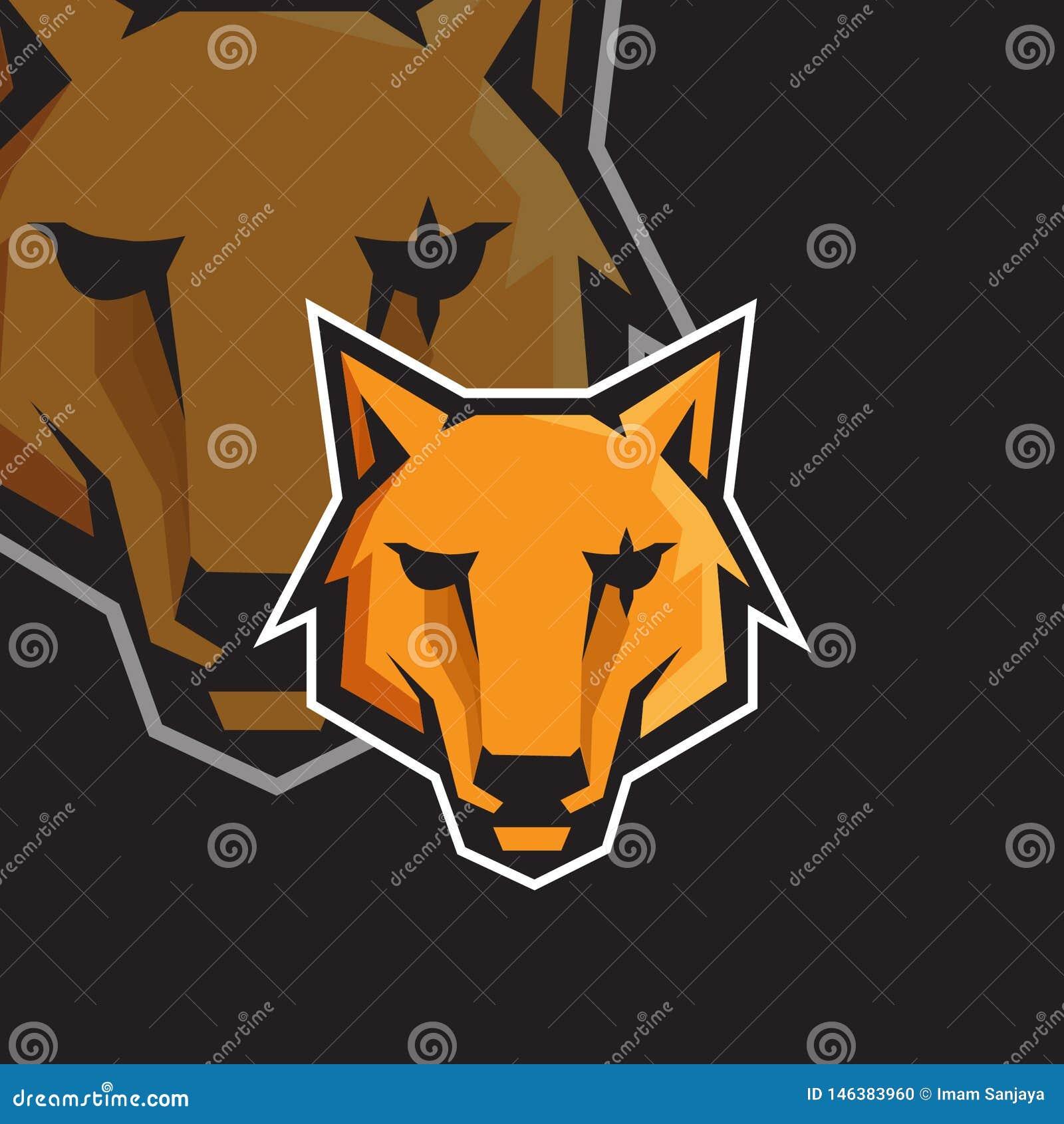 Modello di logo della mascotte di gioco di sport del fronte e del lupo