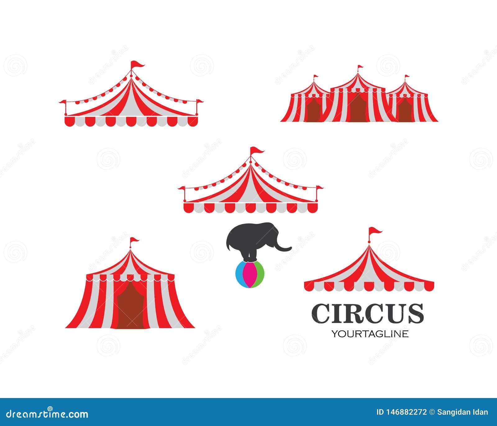 Modello di logo della tenda di circo Vettore
