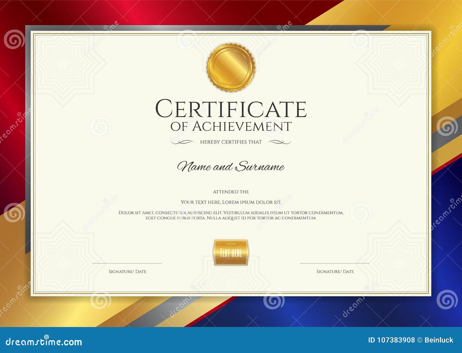 Modello di lusso del certificato con la struttura elegante del confine, diploma d
