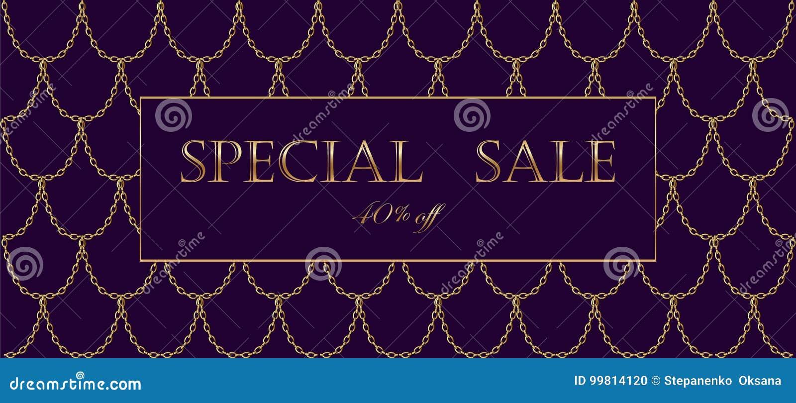 Modello di lusso dell insegna di vendita della catena dorata Squame rosso-acceso scure dell oro Invito commerciale promozionale d