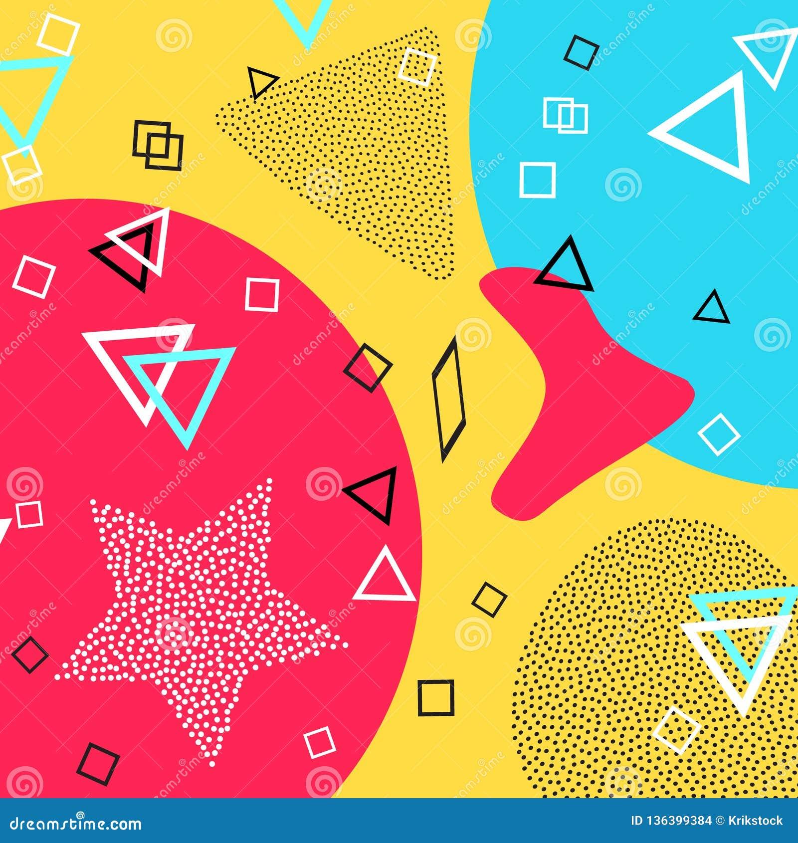 Modello di Memphis delle forme geometriche per il tessuto e le cartoline Illustrazione di vettore Stile dei pantaloni a vita bass