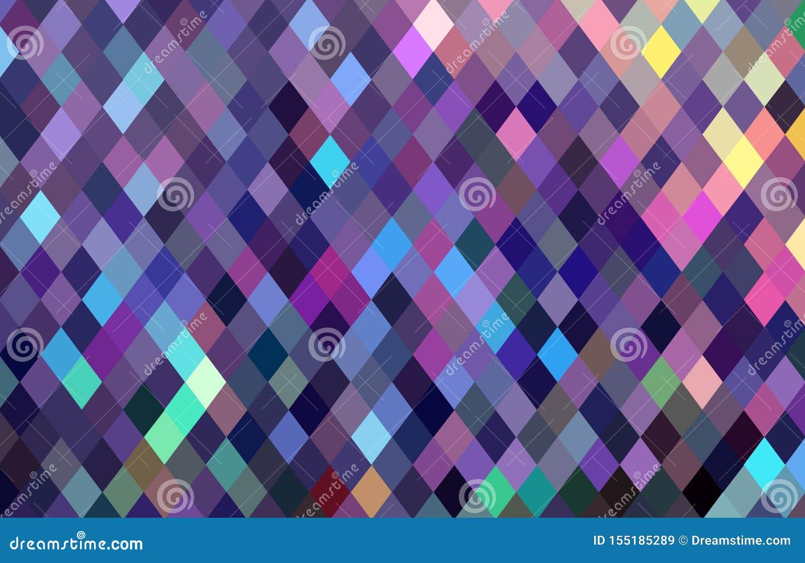 Modello di mosaico a quadretti dei pixel Fondo blu giallo di rosa di cristallo del lillà