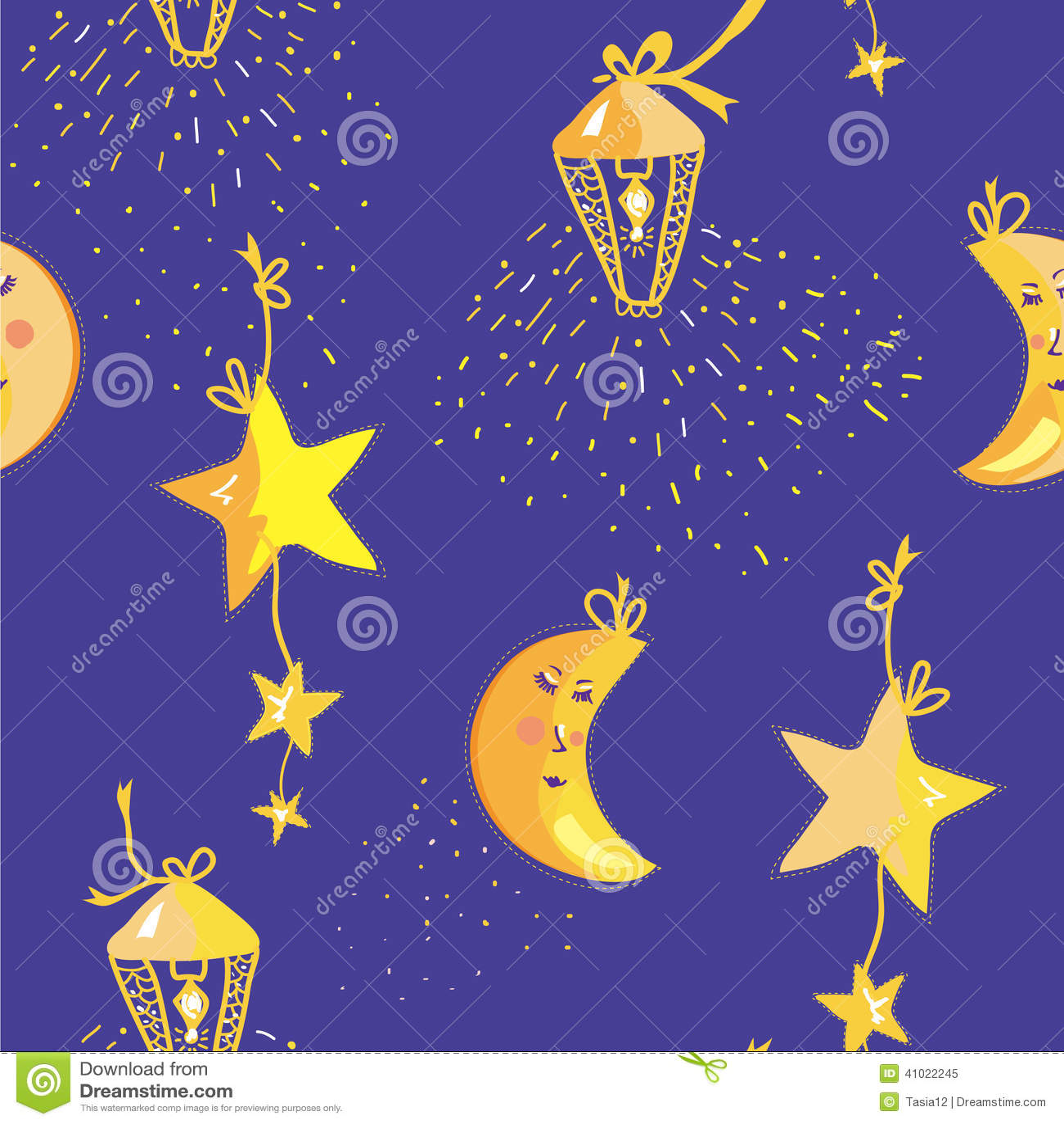Modello Di Notte Con La Luna Stelle Illustrazione Vettoriale