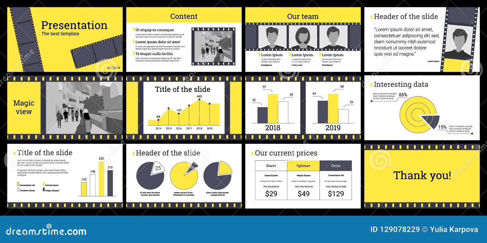 Modello di presentazione di affari in giallo ed in grigio su backg bianco