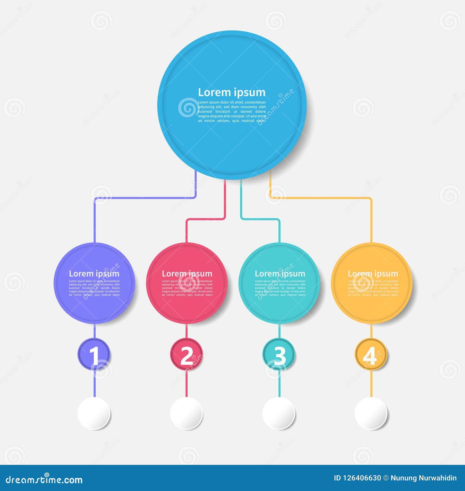 Modello di progettazione di cronologia di infographics di vettore di affari con l illustrazione moderna di vettore di 4 opzioni