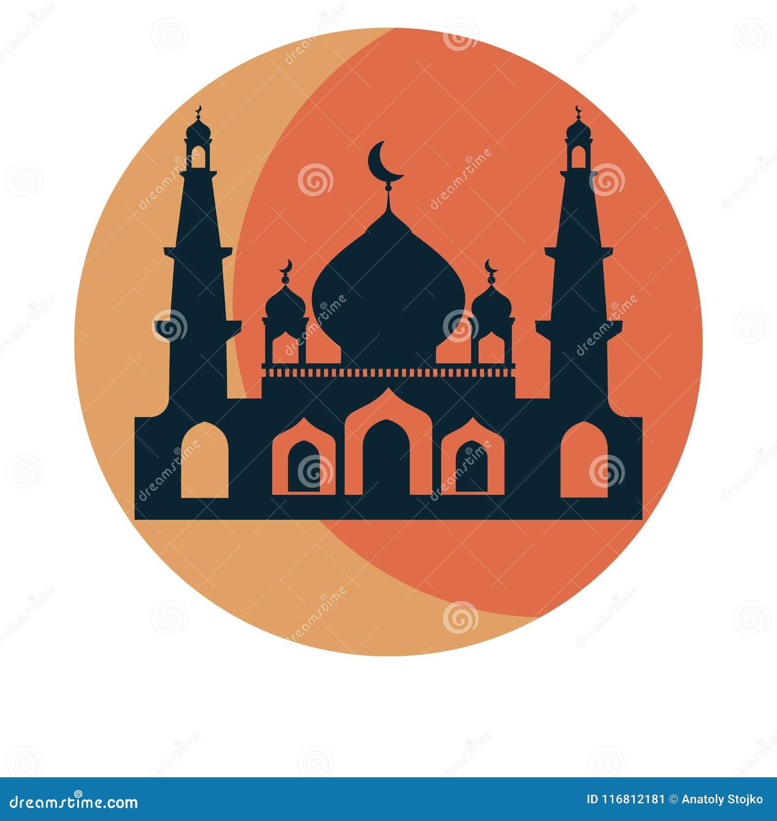 Modello di progettazione dell icona del sole e della moschea Illustrazione di vettore