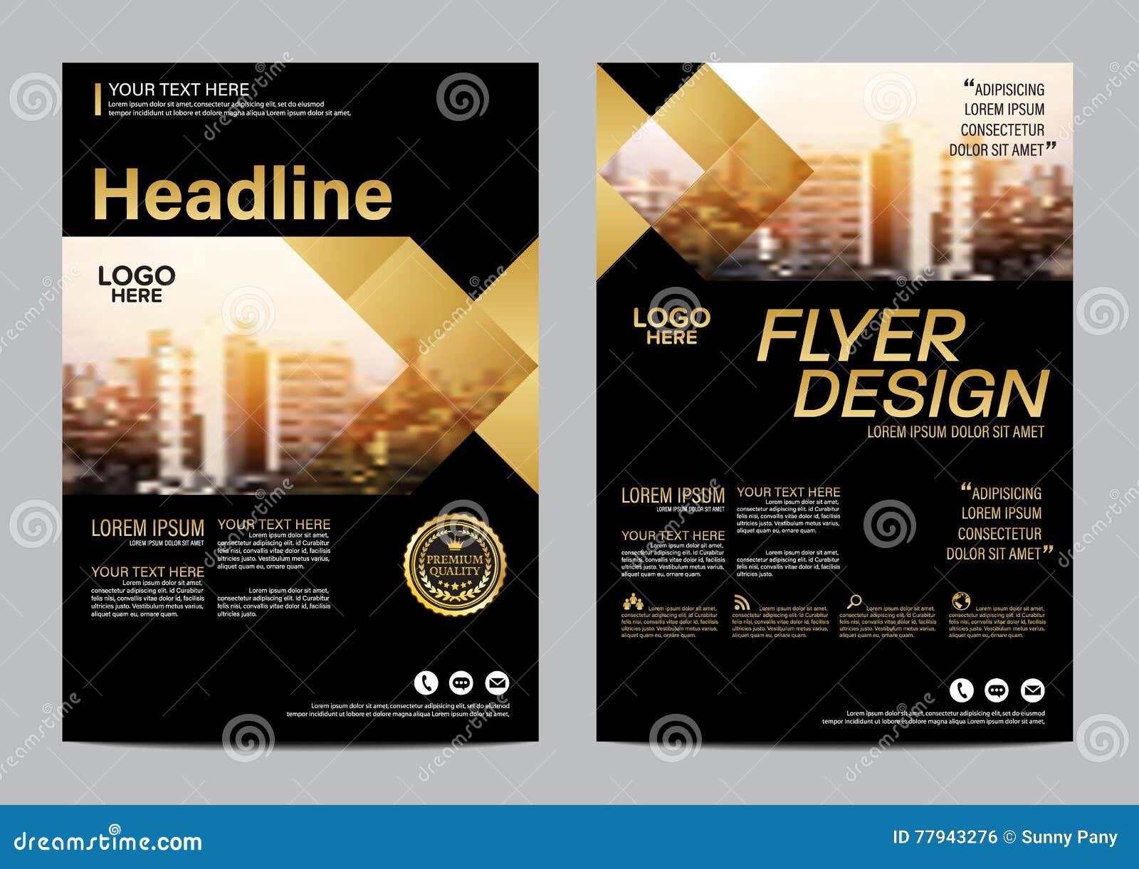 Modello di progettazione della disposizione dell opuscolo dell oro Fondo moderno di presentazione della copertura dell opuscolo d