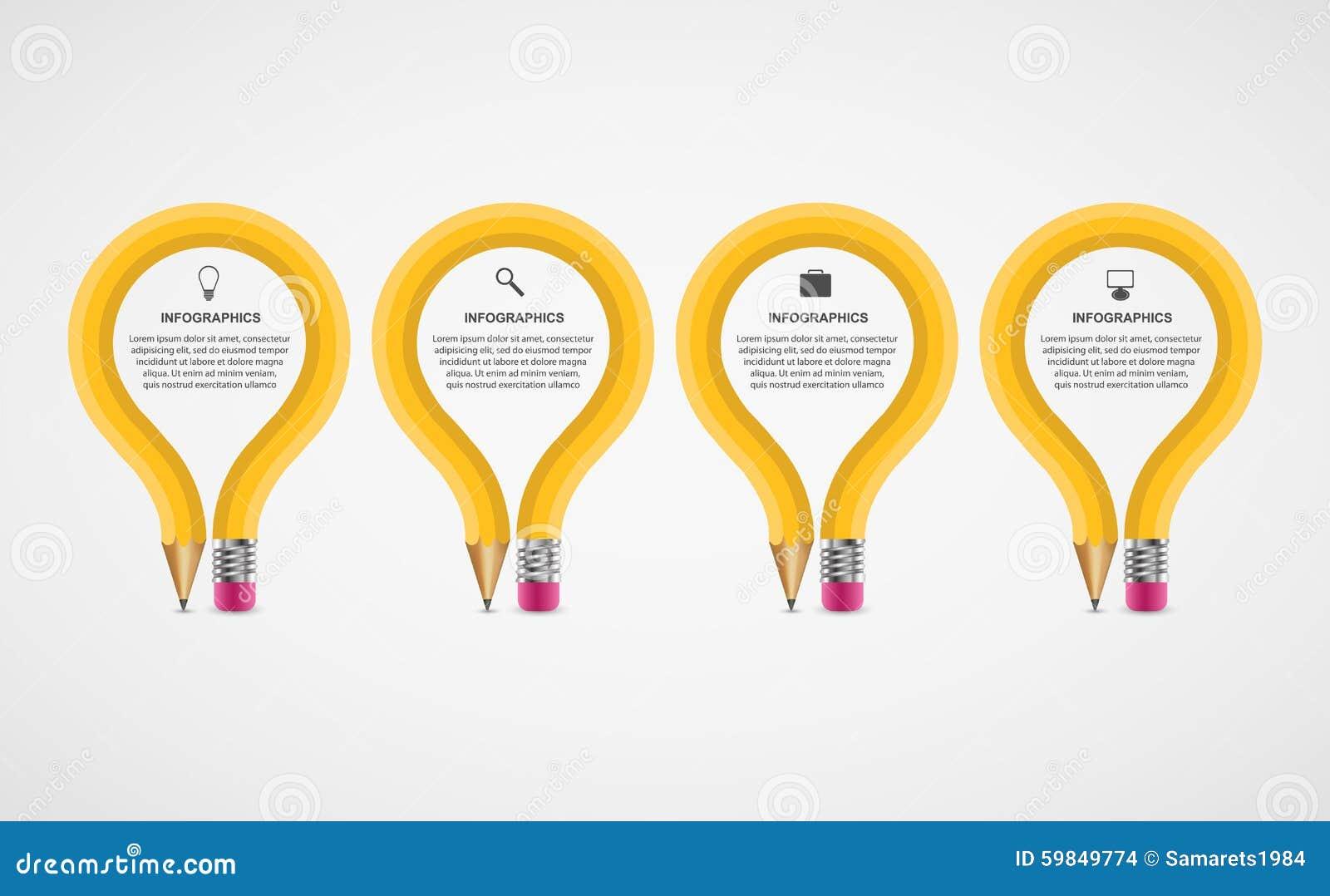 Modello di progettazione di Infographics di opzione della matita di istruzione