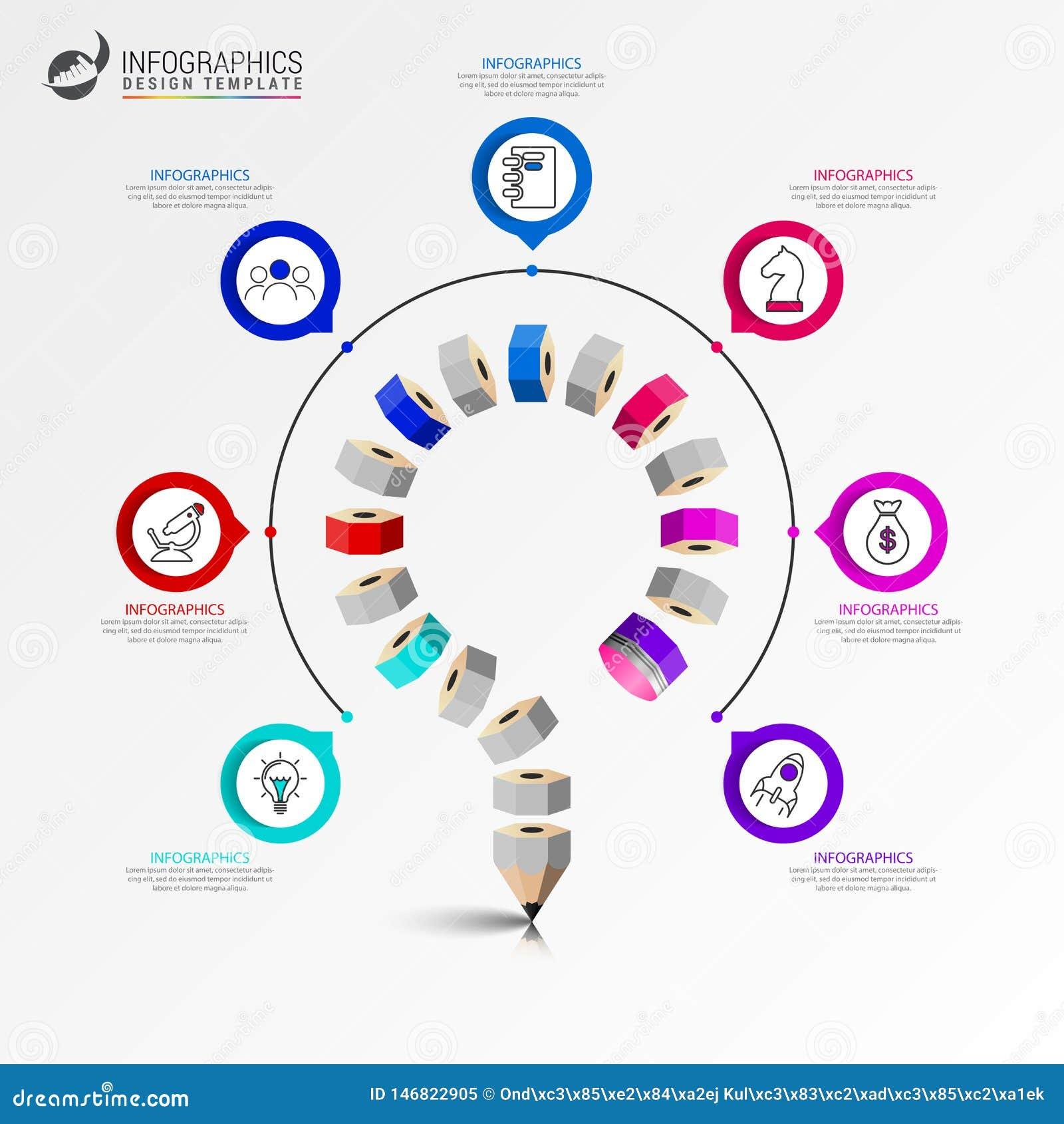 Modello di progettazione di Infographic Concetto di istruzione con 7 punti