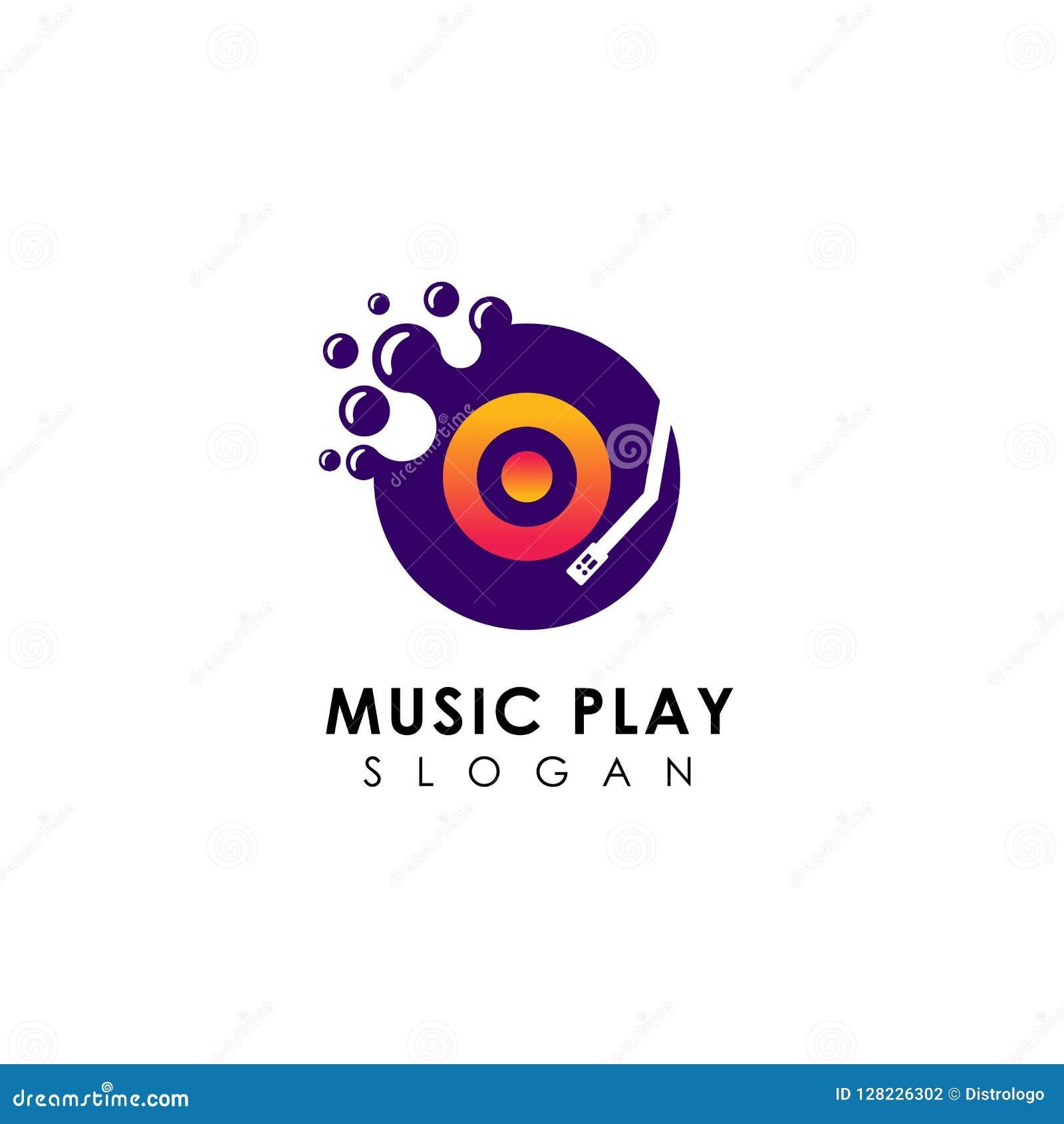 Modello di progettazione di logo del gioco di musica dei punti progettazione di simbolo dell icona di vettore del disco del vinil