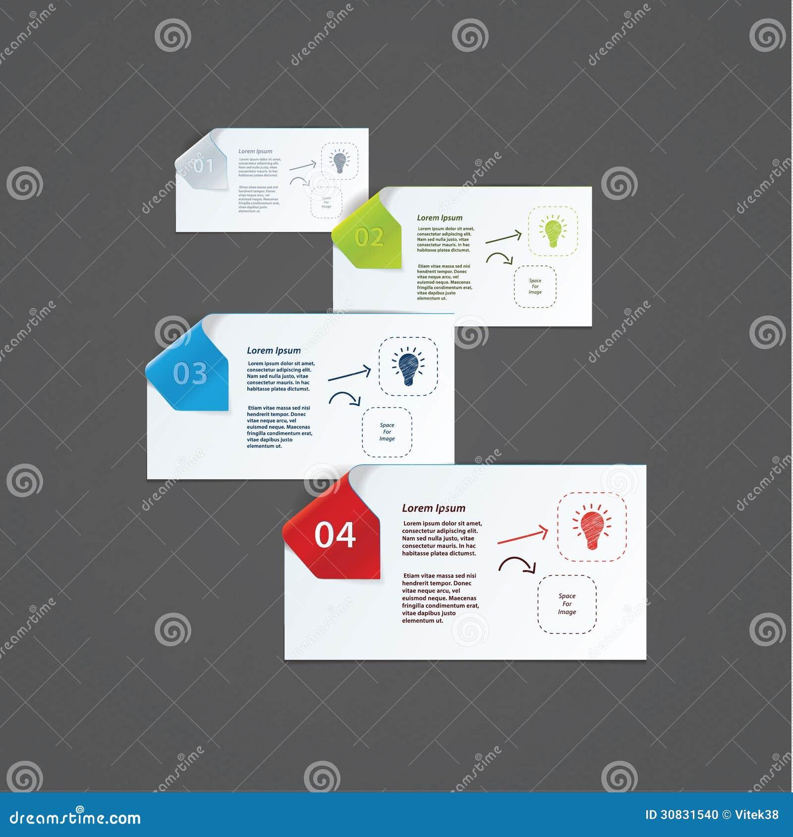Modello di progettazione moderna di vettore per la presentazione. Carte di carta con