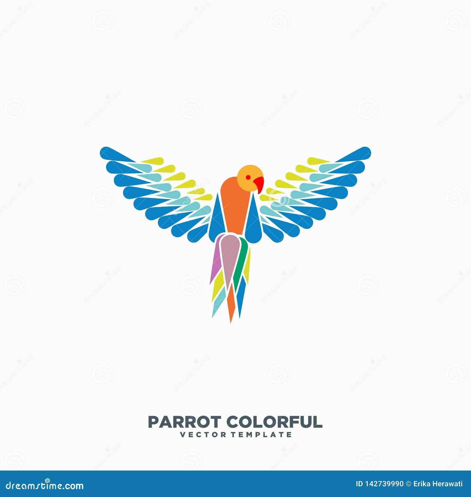 Modello di progettazione di vettore dell illustrazione di concetto di colore del pappagallo
