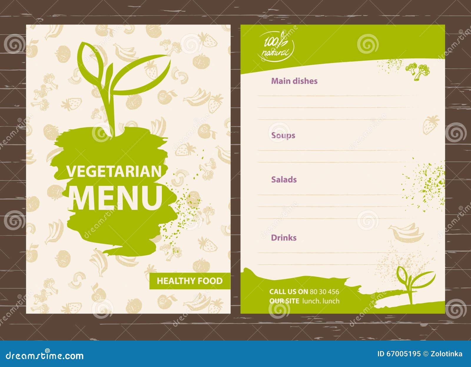Modello di un menu vegetariano per un caff ristorante for Formatos y controles para restaurantes gratis