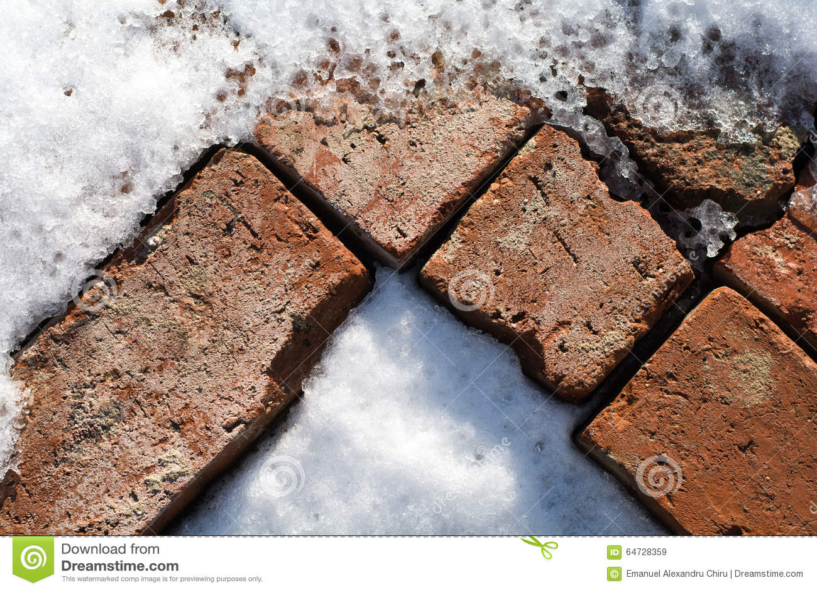 Modello di vecchi mattoni in neve e ghiaccio