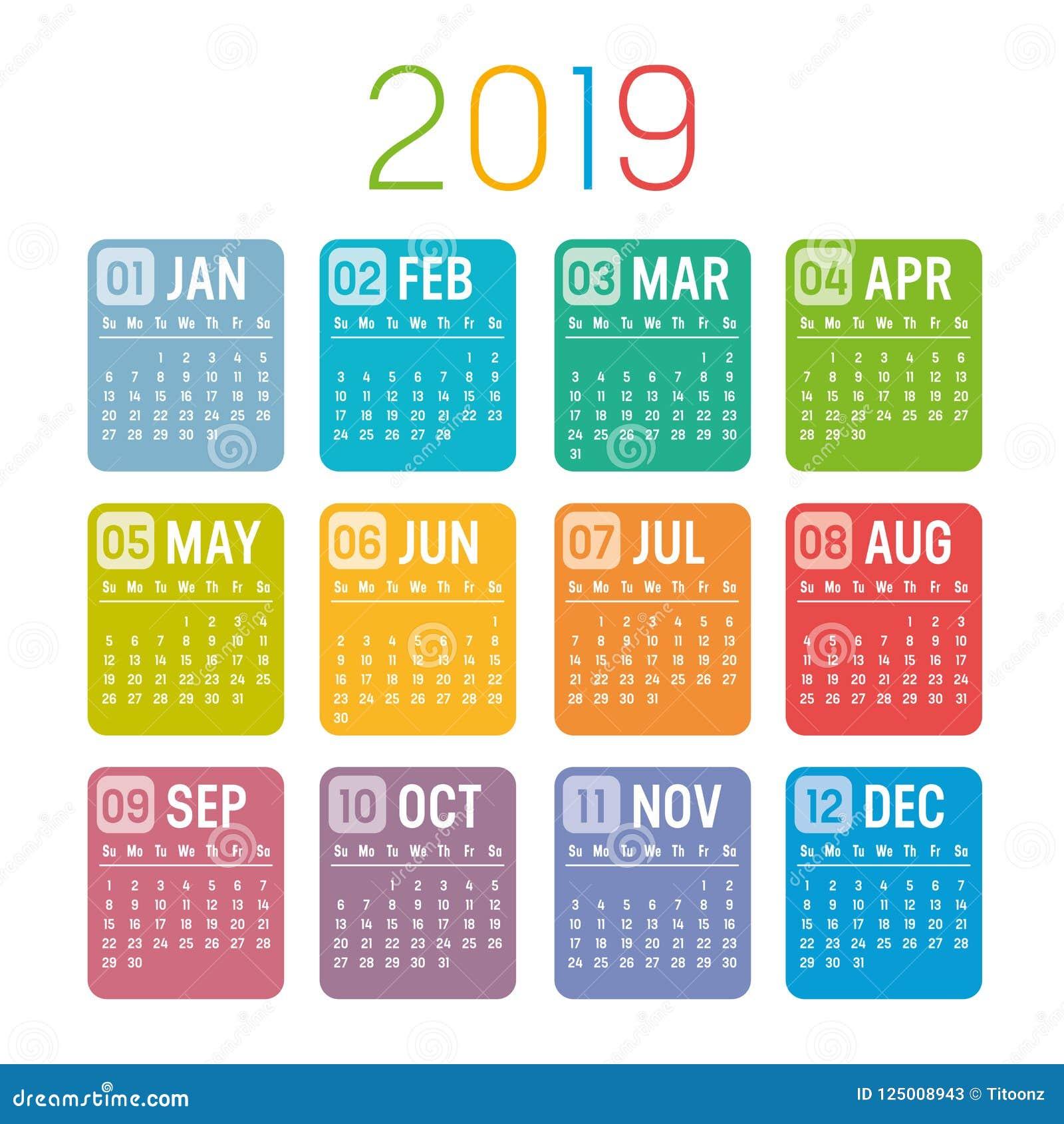 Calendario 2019 Moderno.Modello Di Vettore Del Calendario Di Anno 2019 Illustrazione