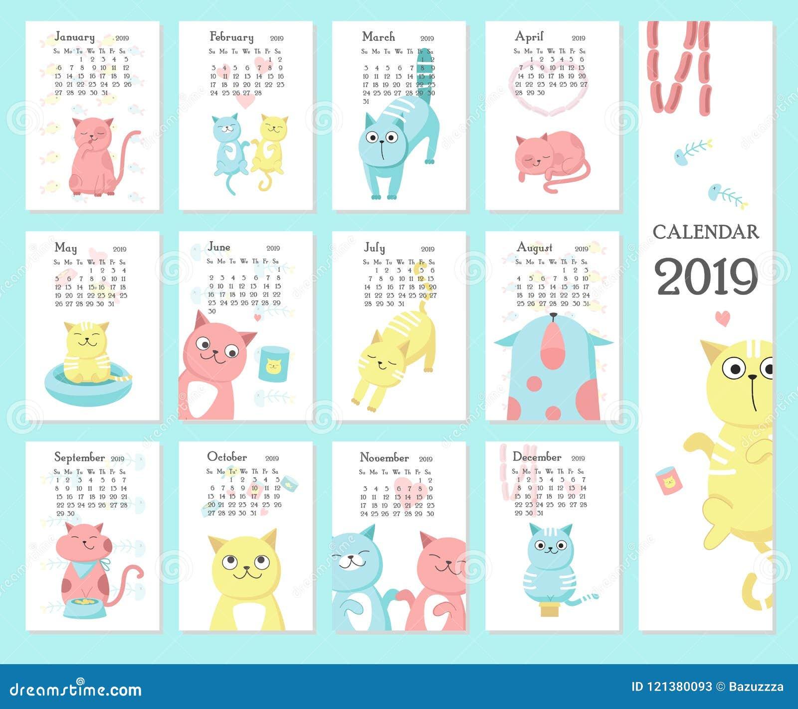 Modelli Calendario 2019.Modello Di Vettore Del Calendario 2019 Con I Gatti Svegli