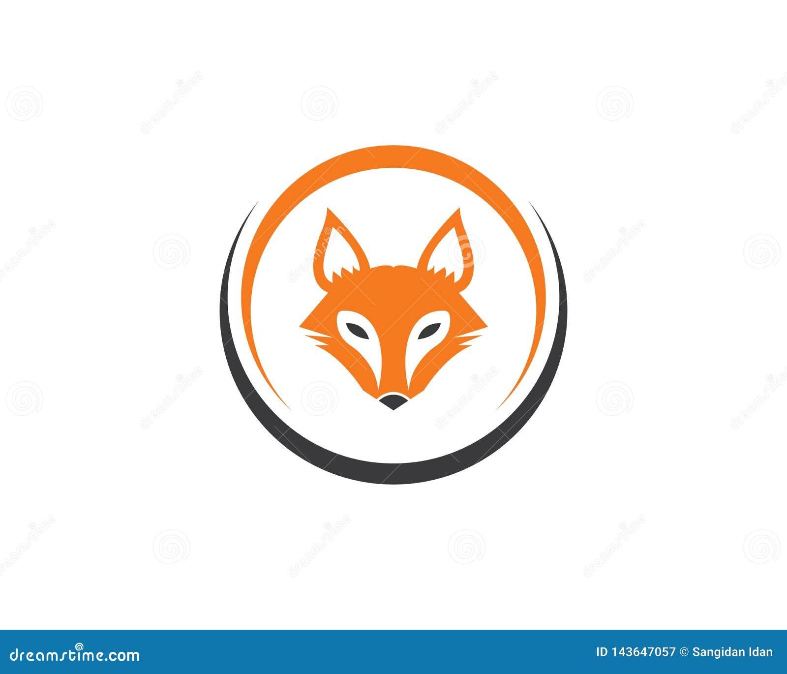 Modello di vettore dell icona di logo della volpe