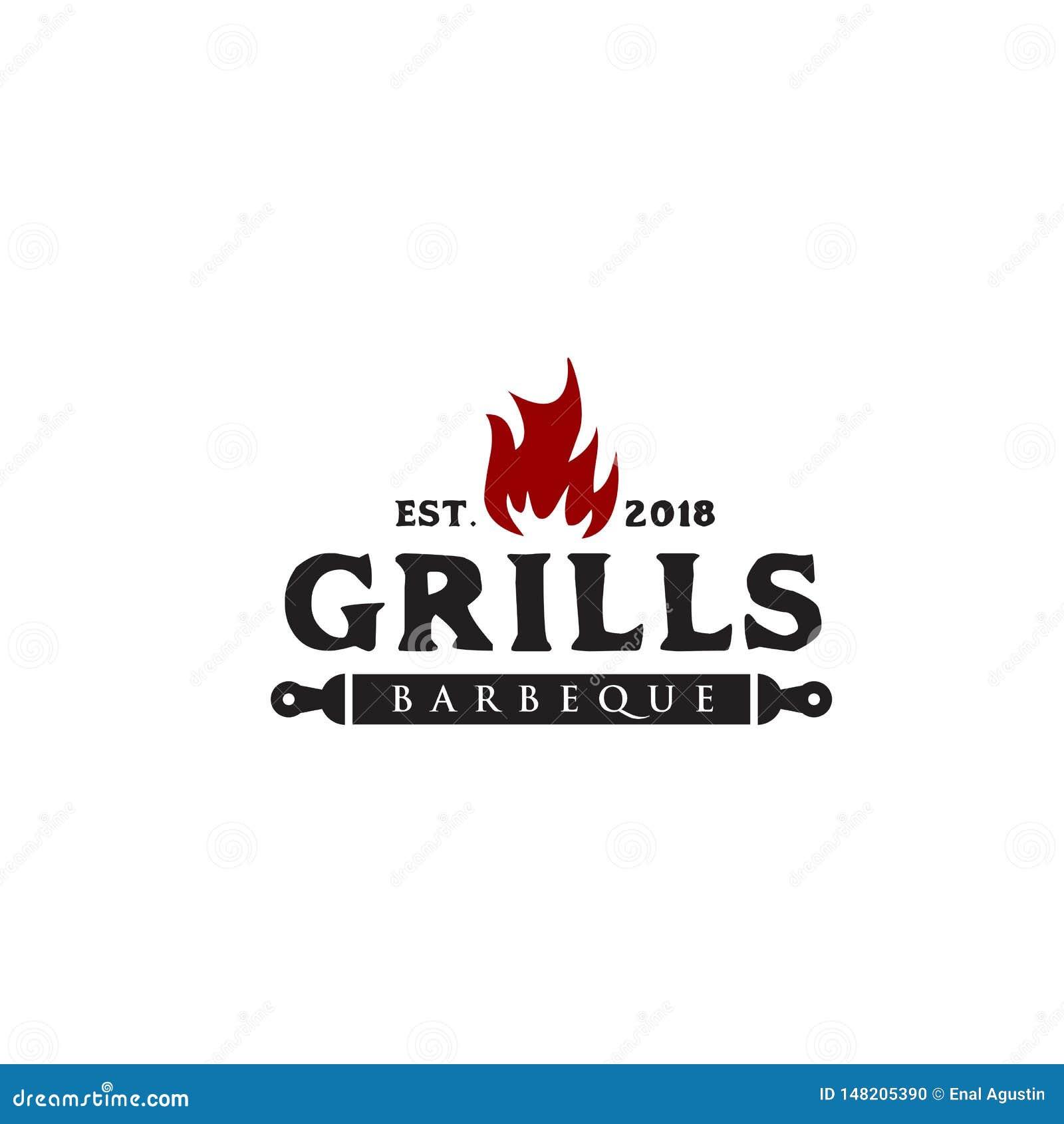 Modello di vettore di progettazione di logo del barbecue della griglia